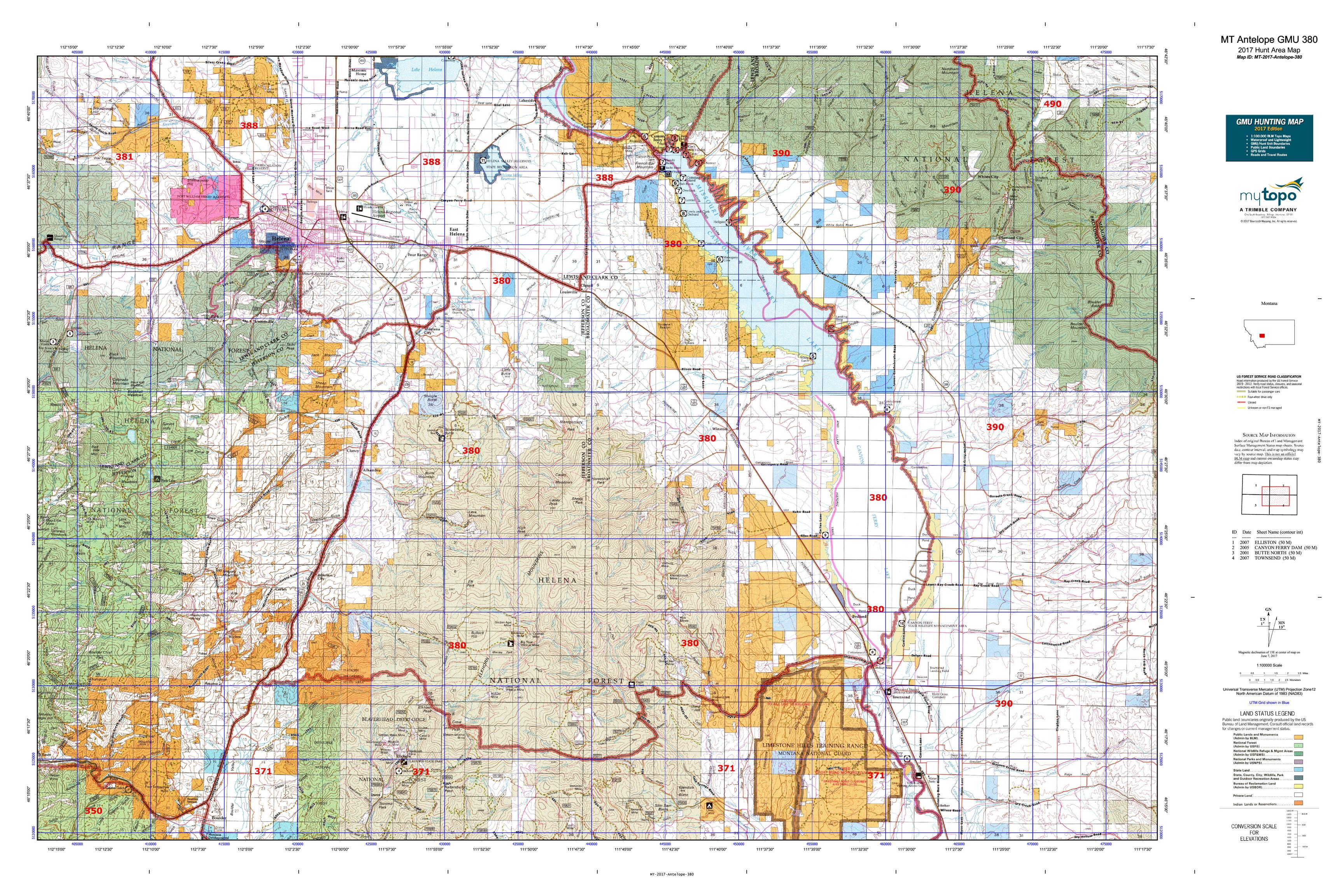 MT Antelope GMU 380 Map MyTopo