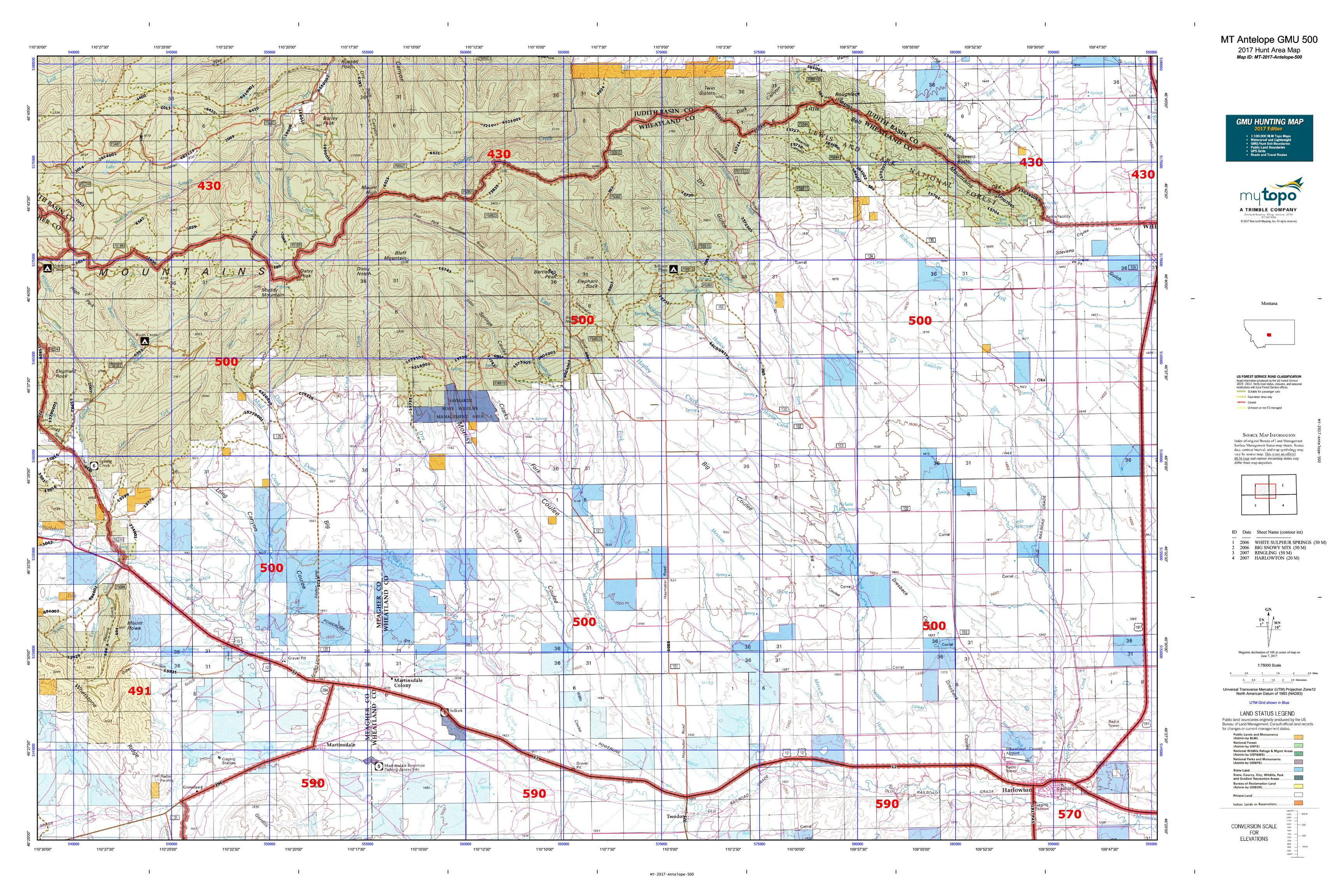 MT Antelope GMU Map MyTopo - Mt map