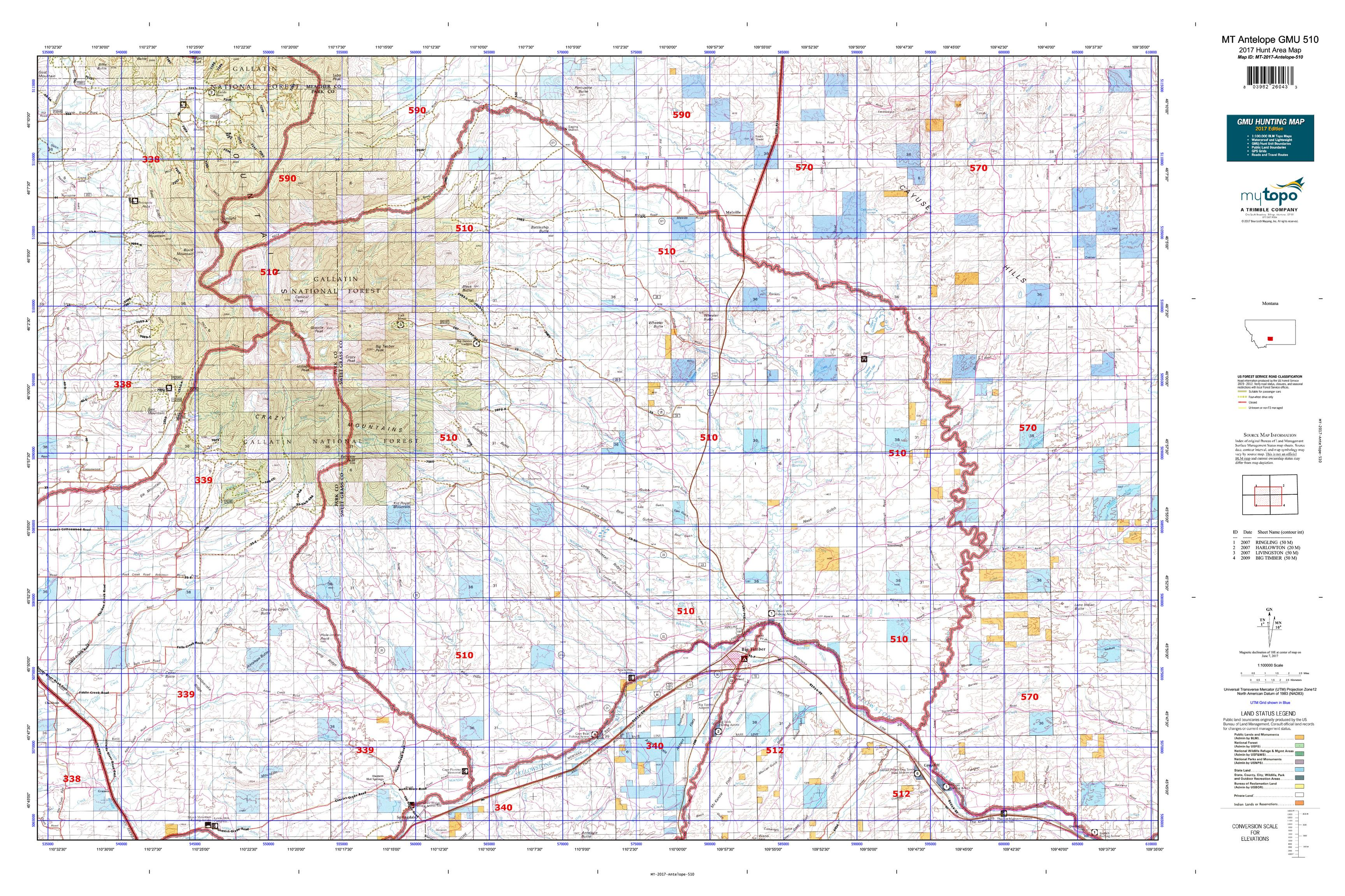 MT Antelope GMU Map MyTopo - Map of mt