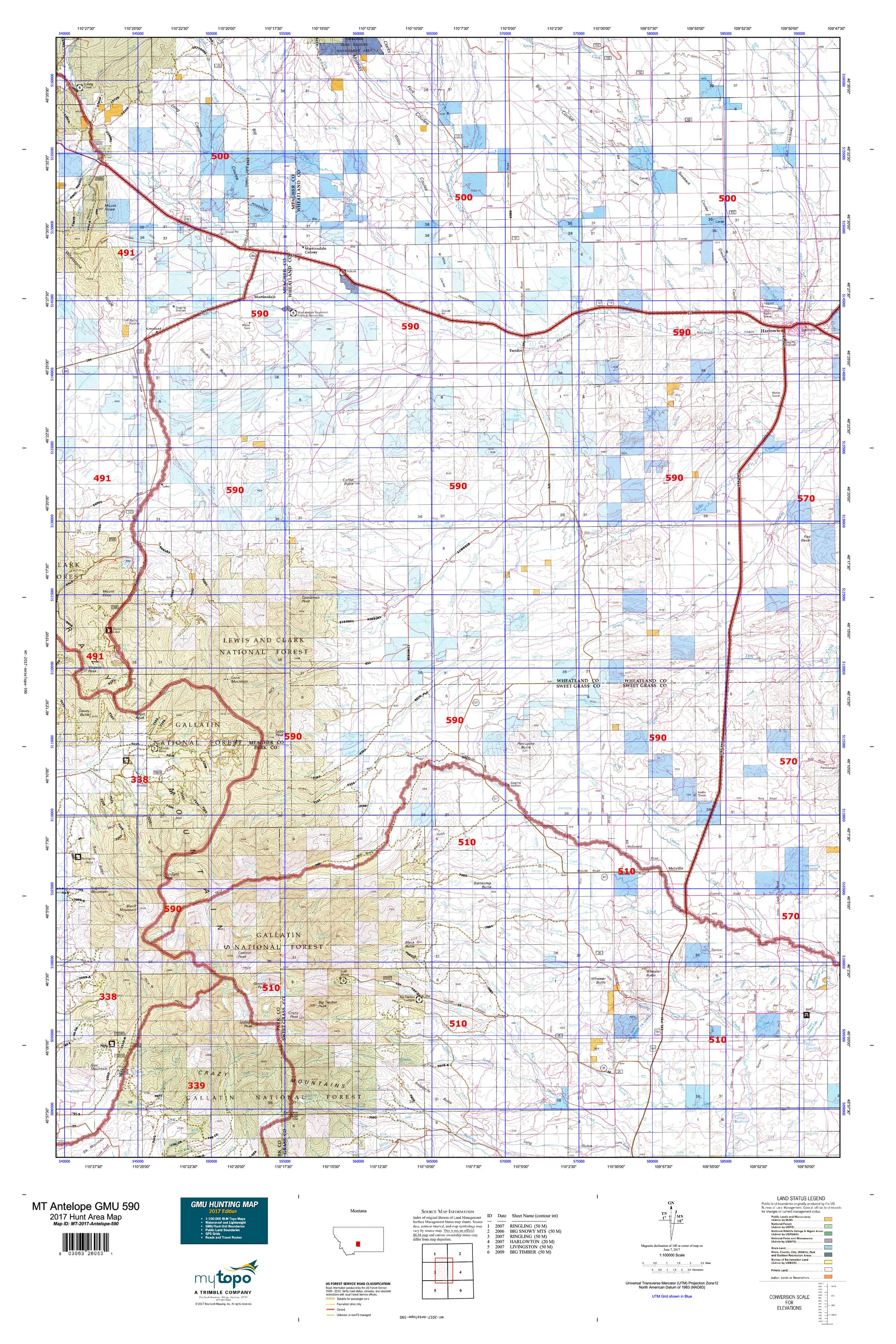 MT Antelope GMU 590 Map MyTopo