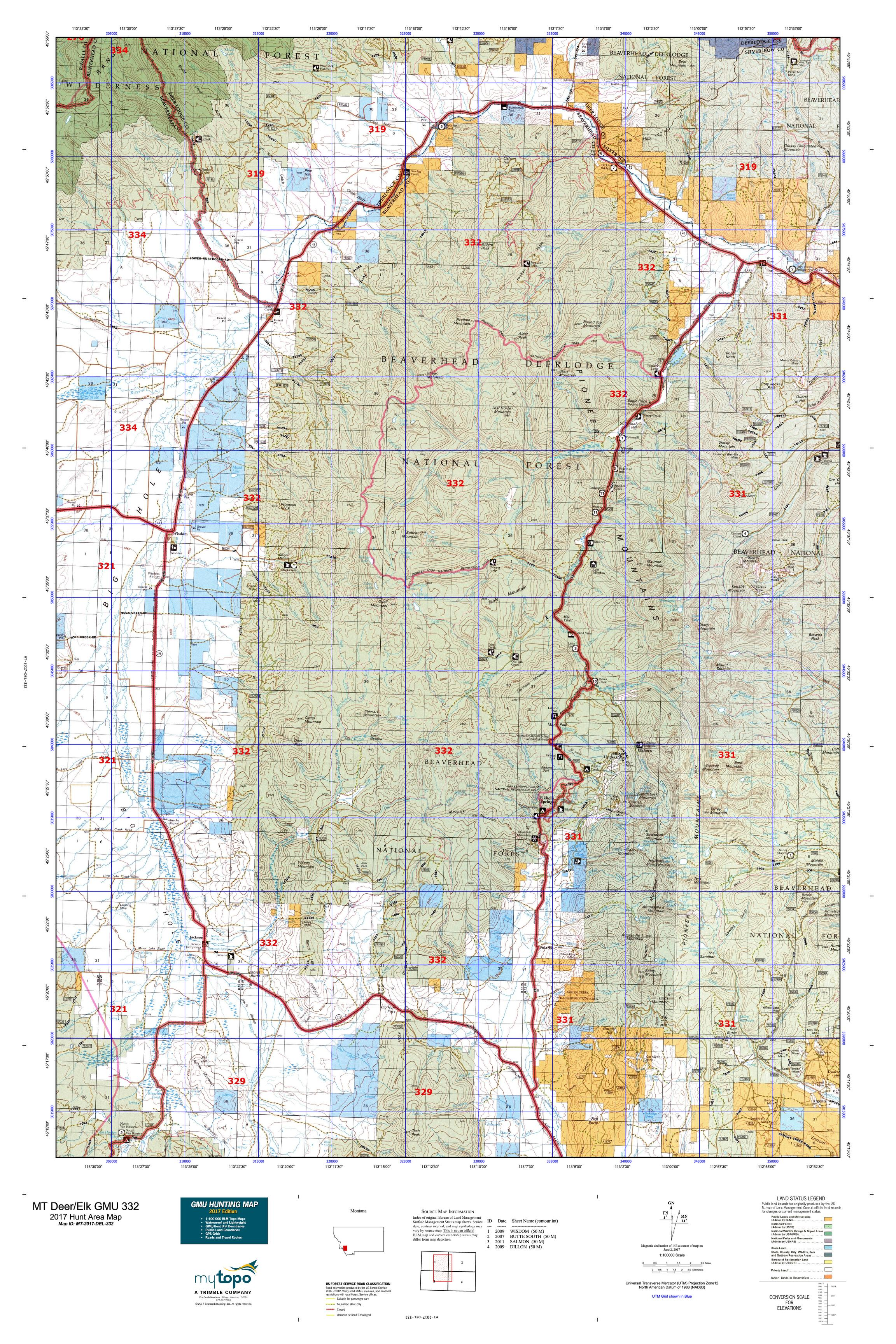 MT DeerElk GMU Map MyTopo - Mt map
