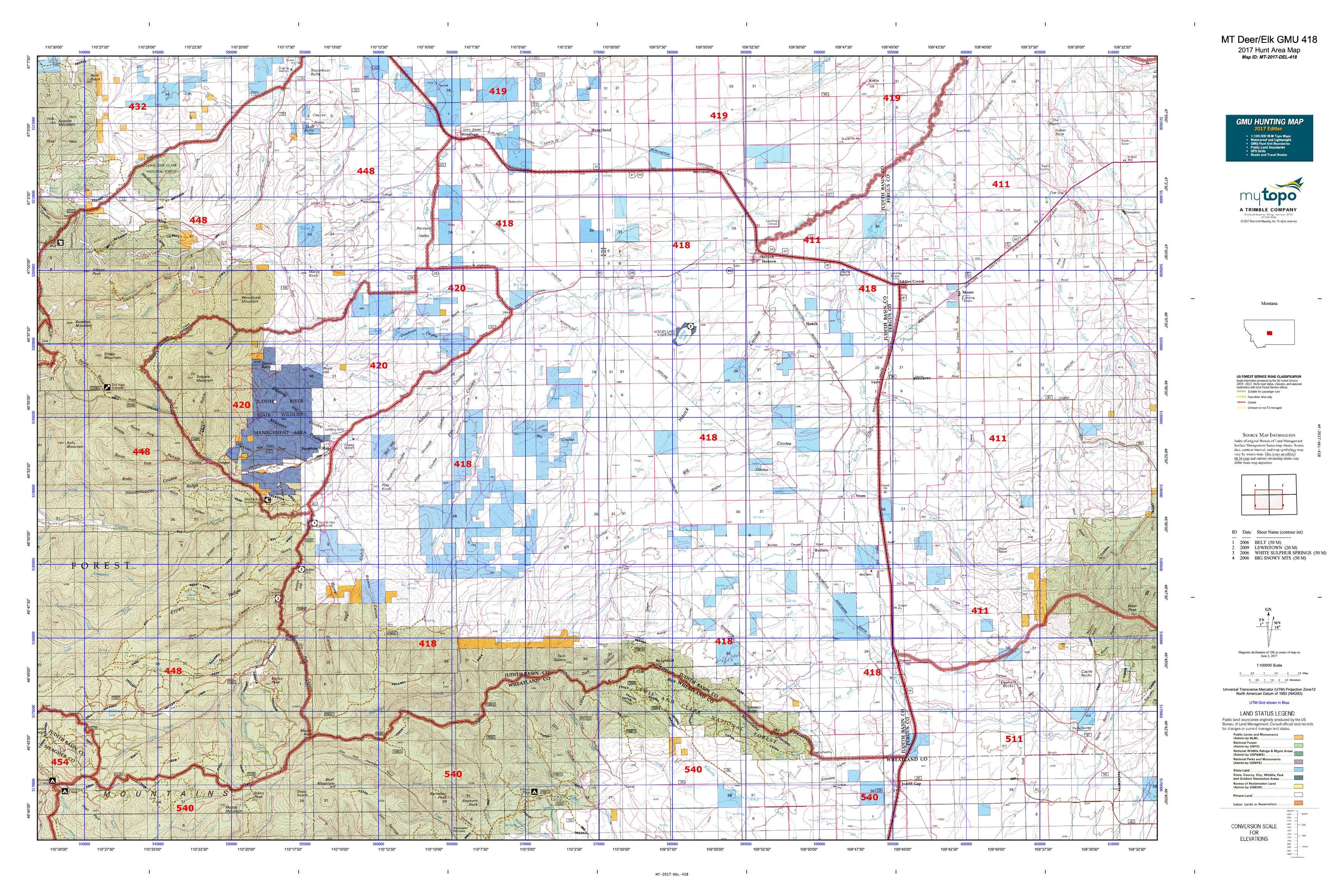 MT DeerElk GMU Map MyTopo - Map of mt