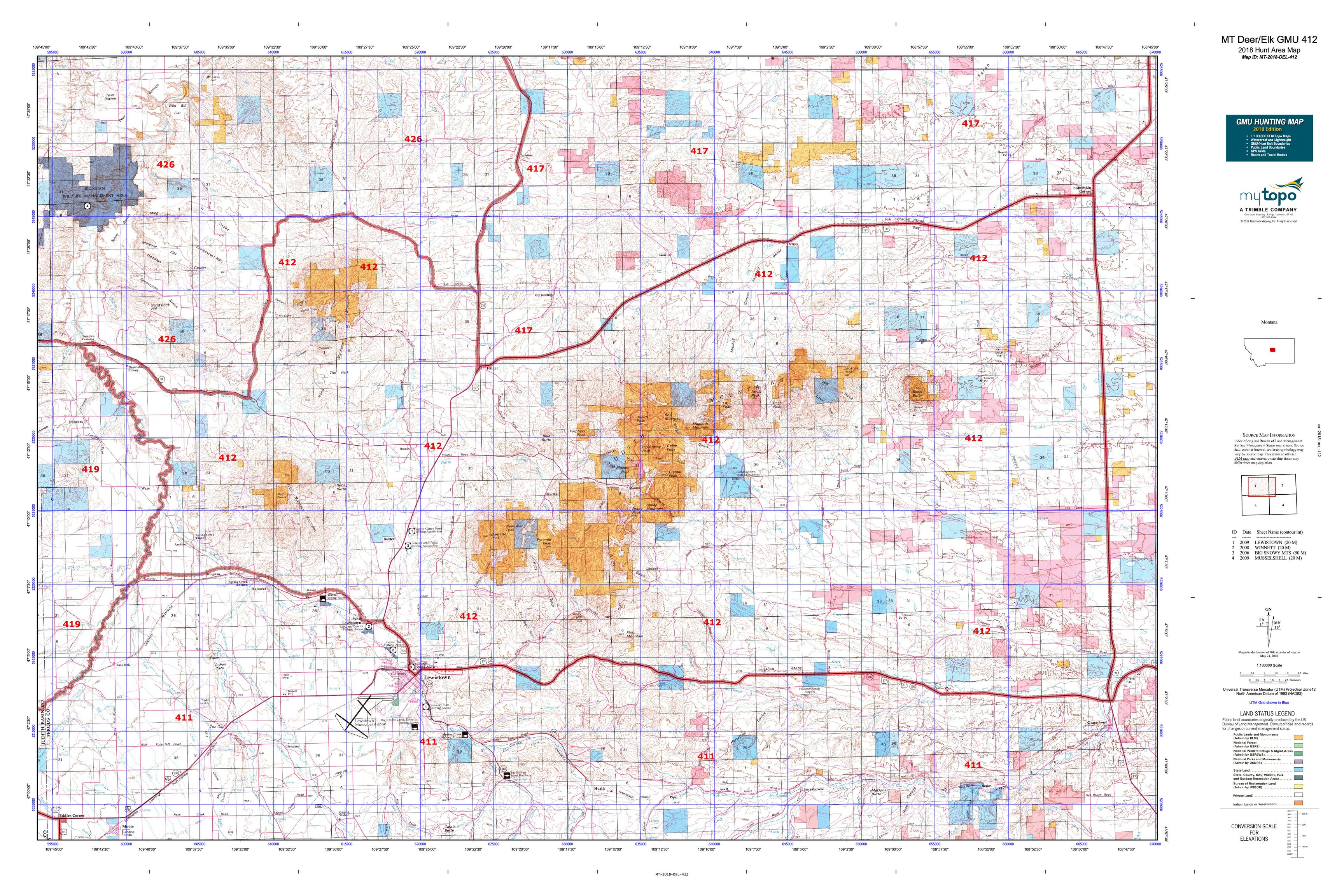 MT Deer/Elk GMU 412 Map | MyTopo