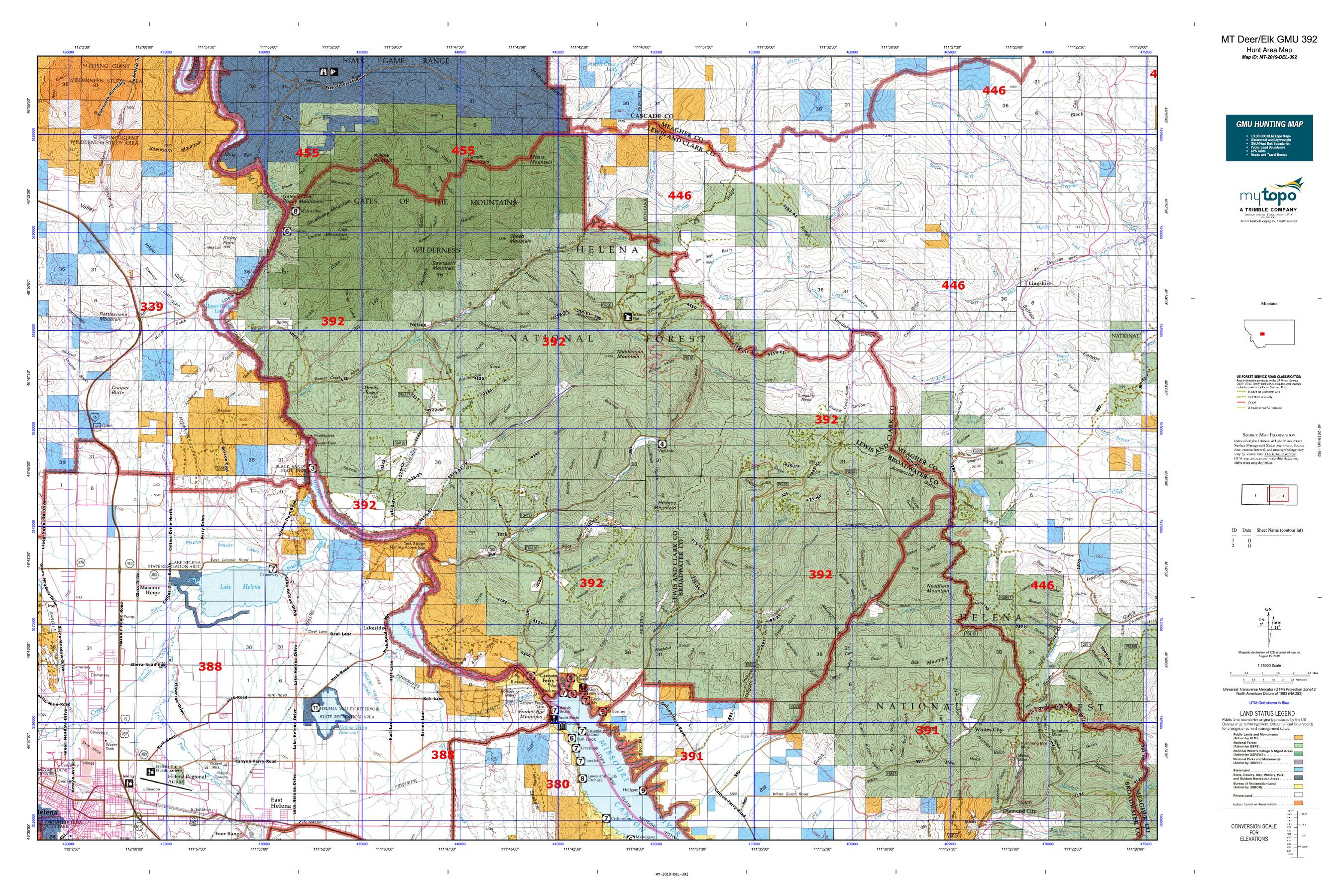 MT Deer/Elk GMU 392 Map | MyTopo on state art, state building, state sports, state history, state home, state control,