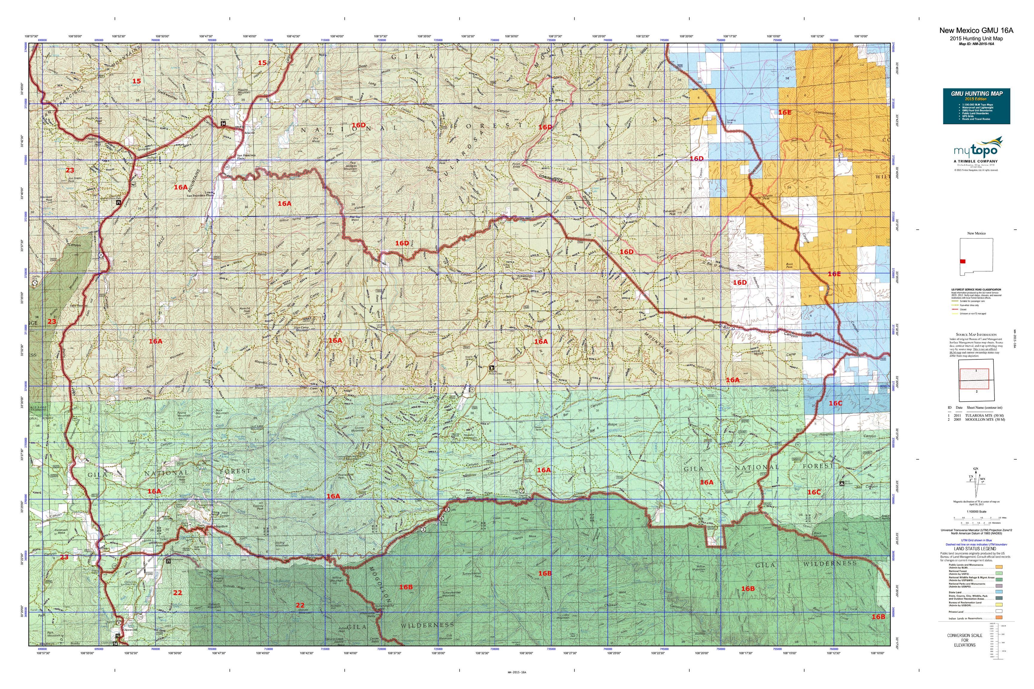 New Mexico GMU 16A Map  MyTopo