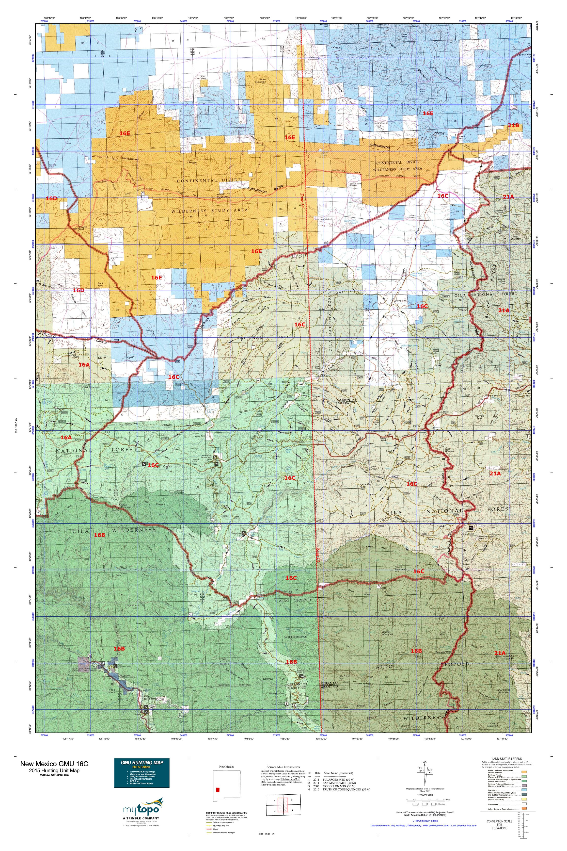 New Mexico GMU 16C Map  MyTopo