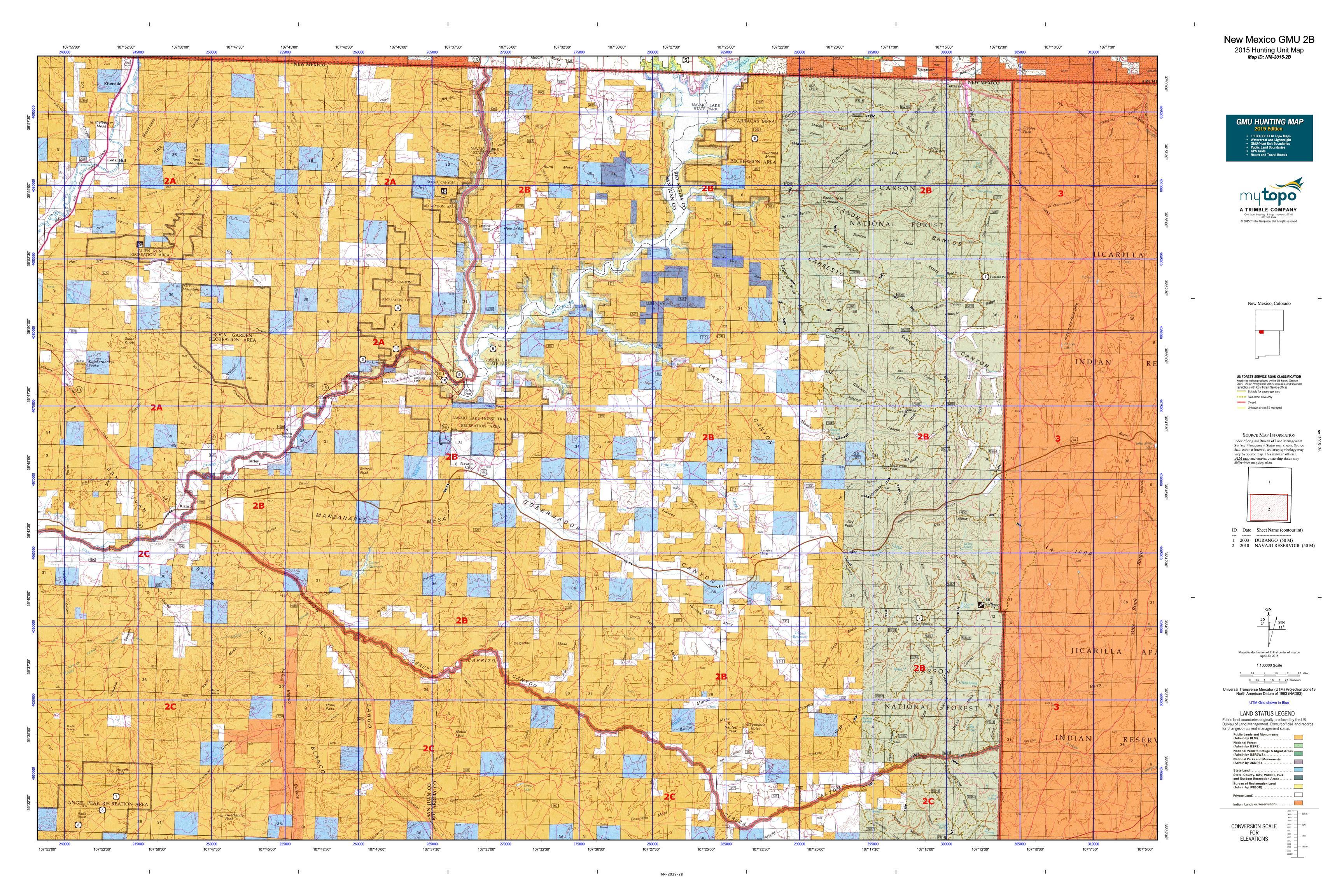 New Mexico GMU 2B Map  MyTopo