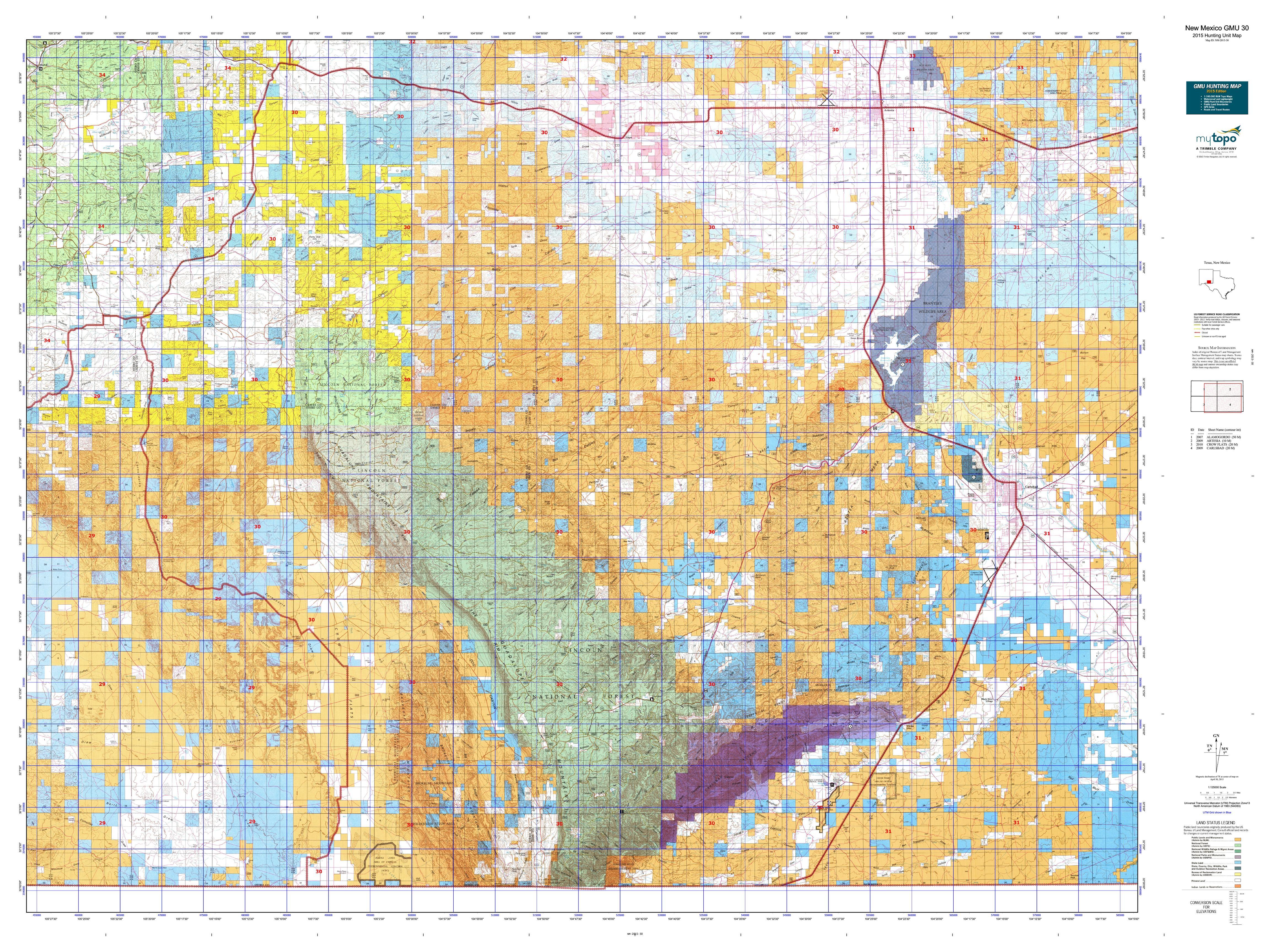 New Mexico GMU 30 Map  MyTopo
