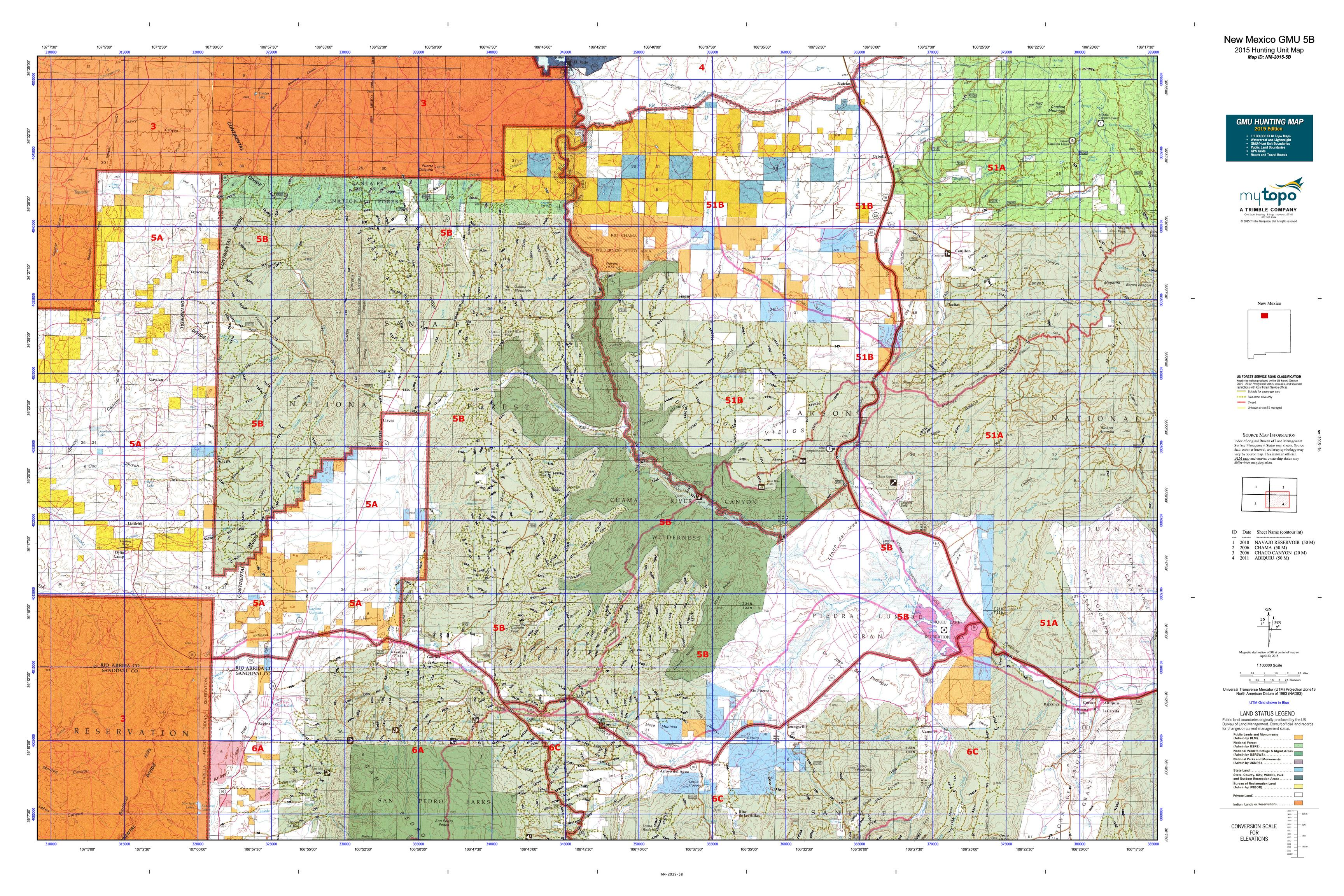 New Mexico GMU 5B Map  MyTopo