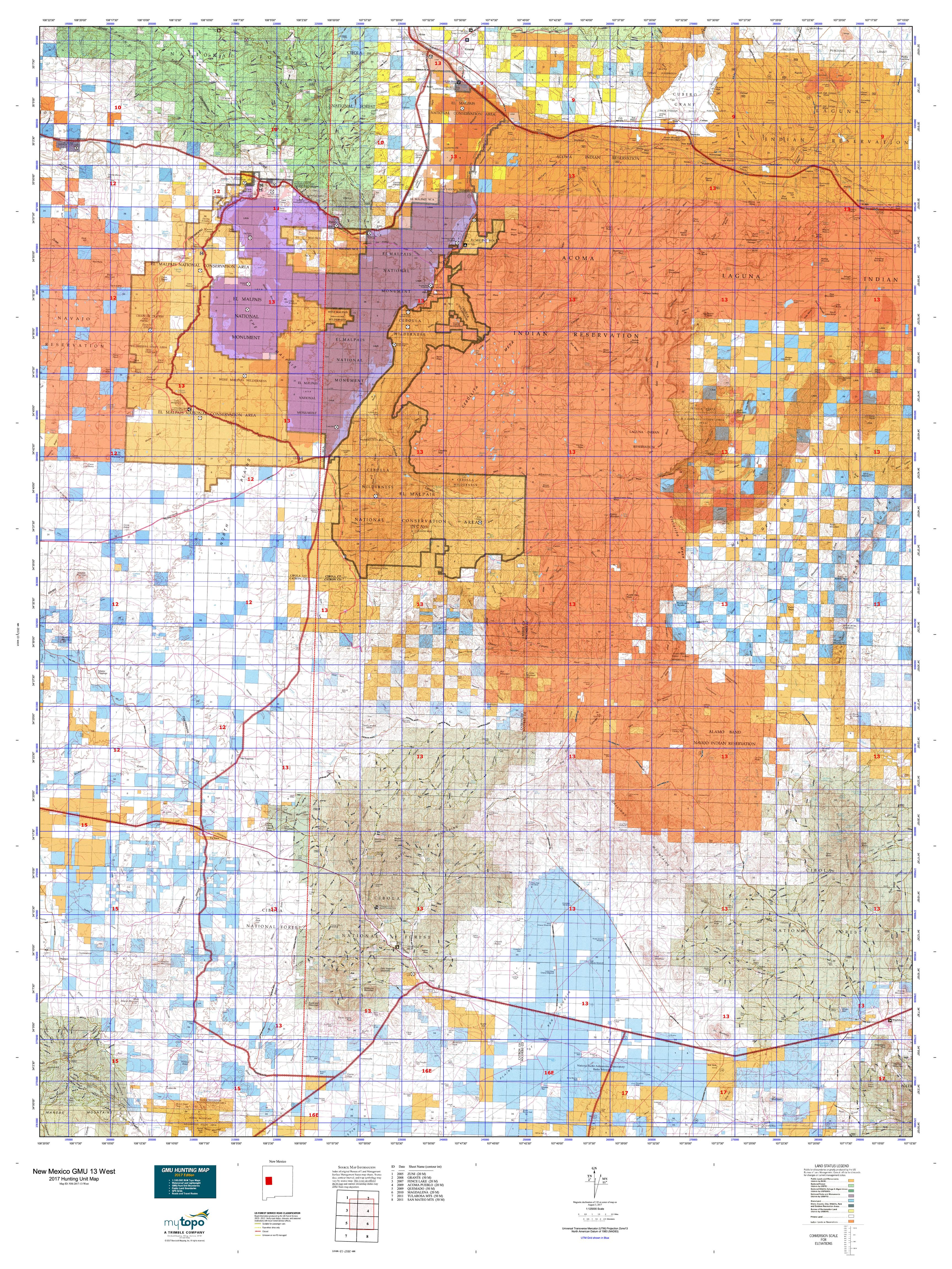 New Mexico GMU East Map MyTopo - Us west map