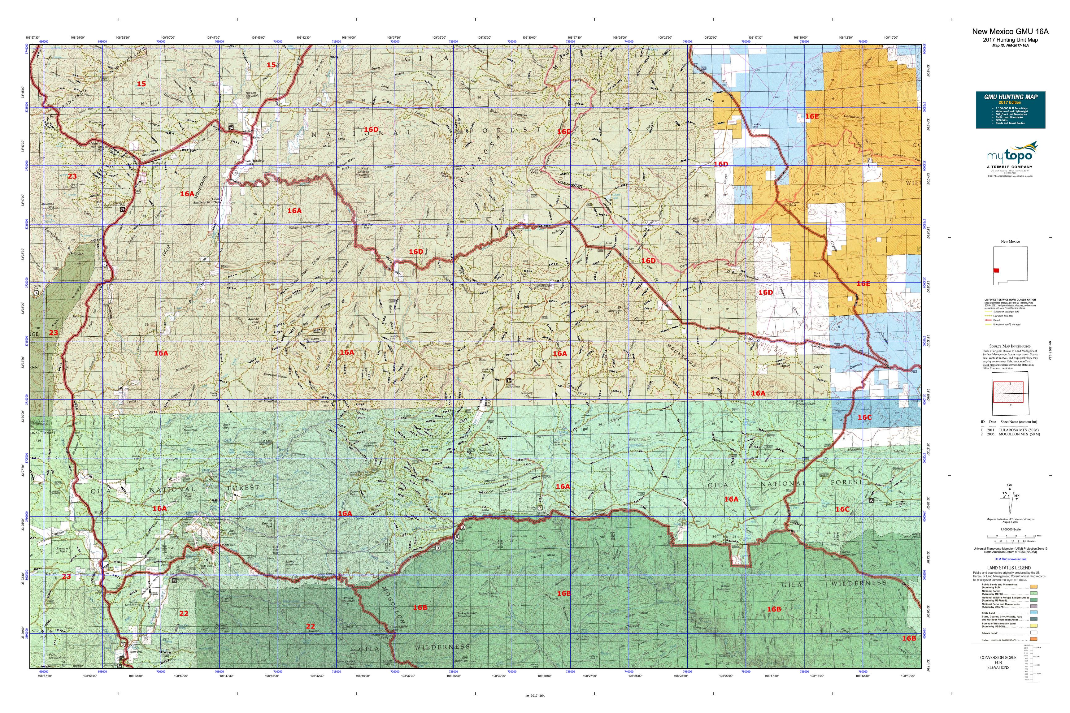 New Mexico GMU A Map MyTopo - Nm map