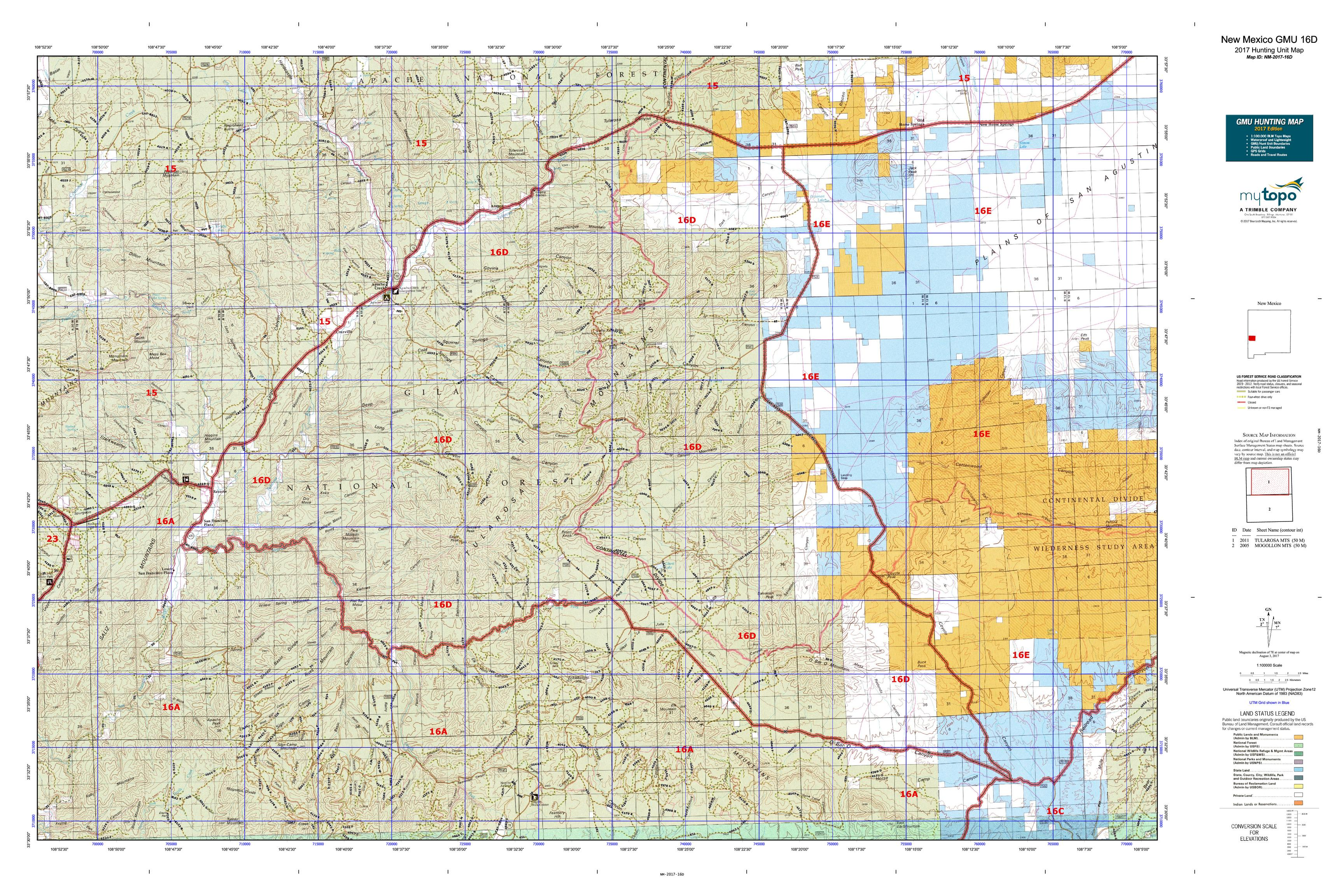 New Mexico GMU D Map MyTopo - Map nm