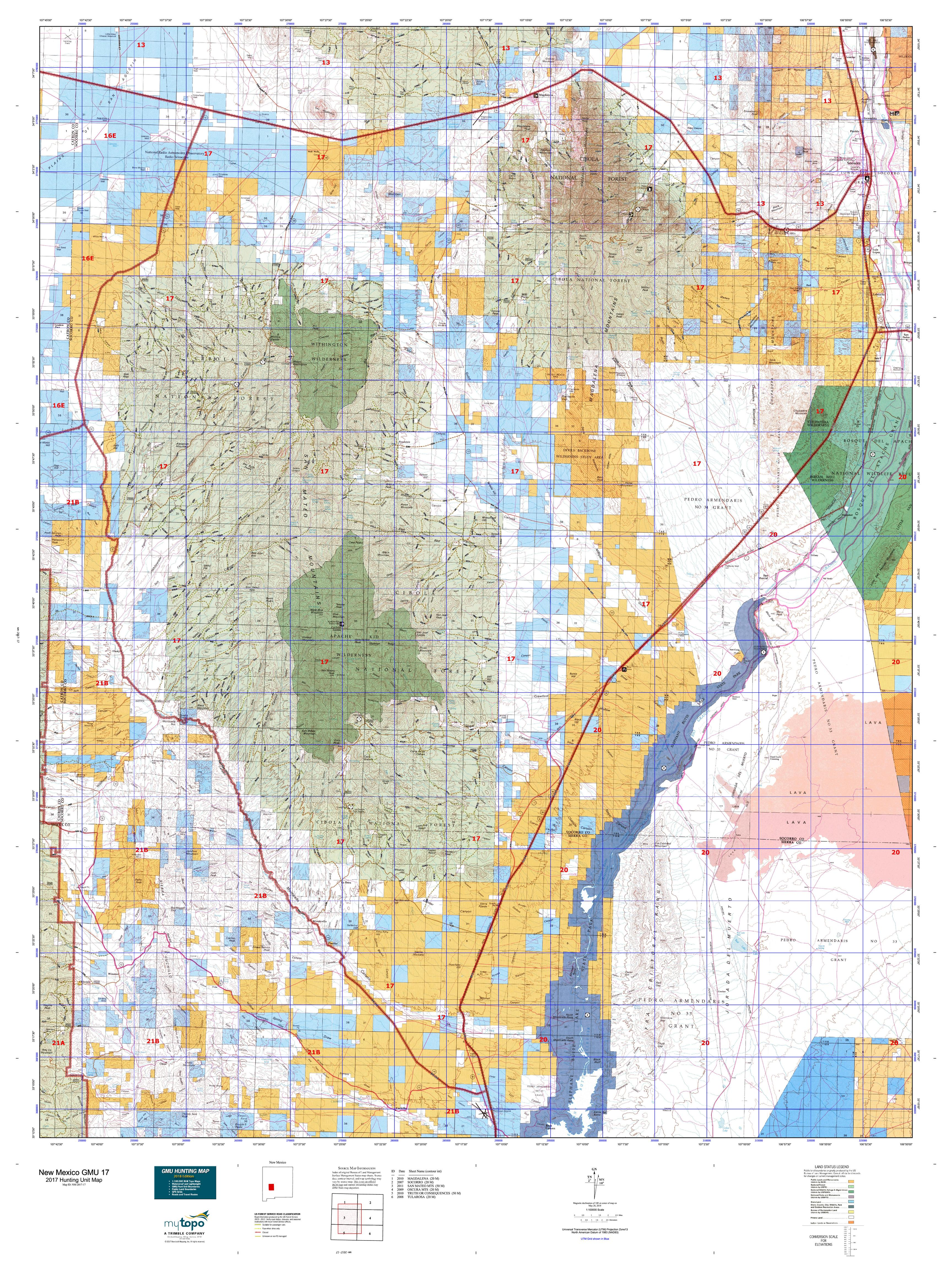 New Mexico GMU Map MyTopo - Detailed map of new mexico