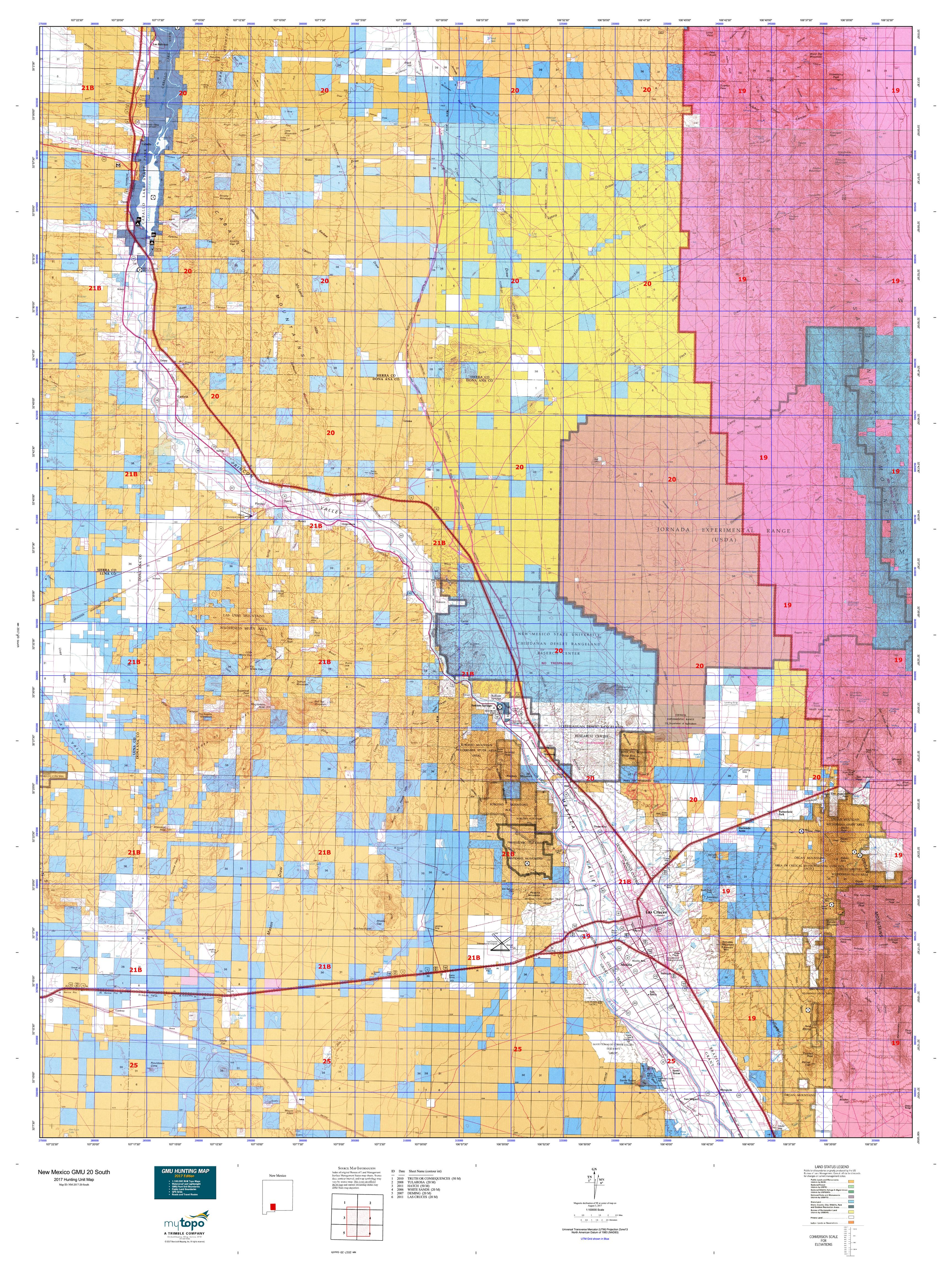 New Mexico GMU North Map MyTopo - Topographical map of new mexico