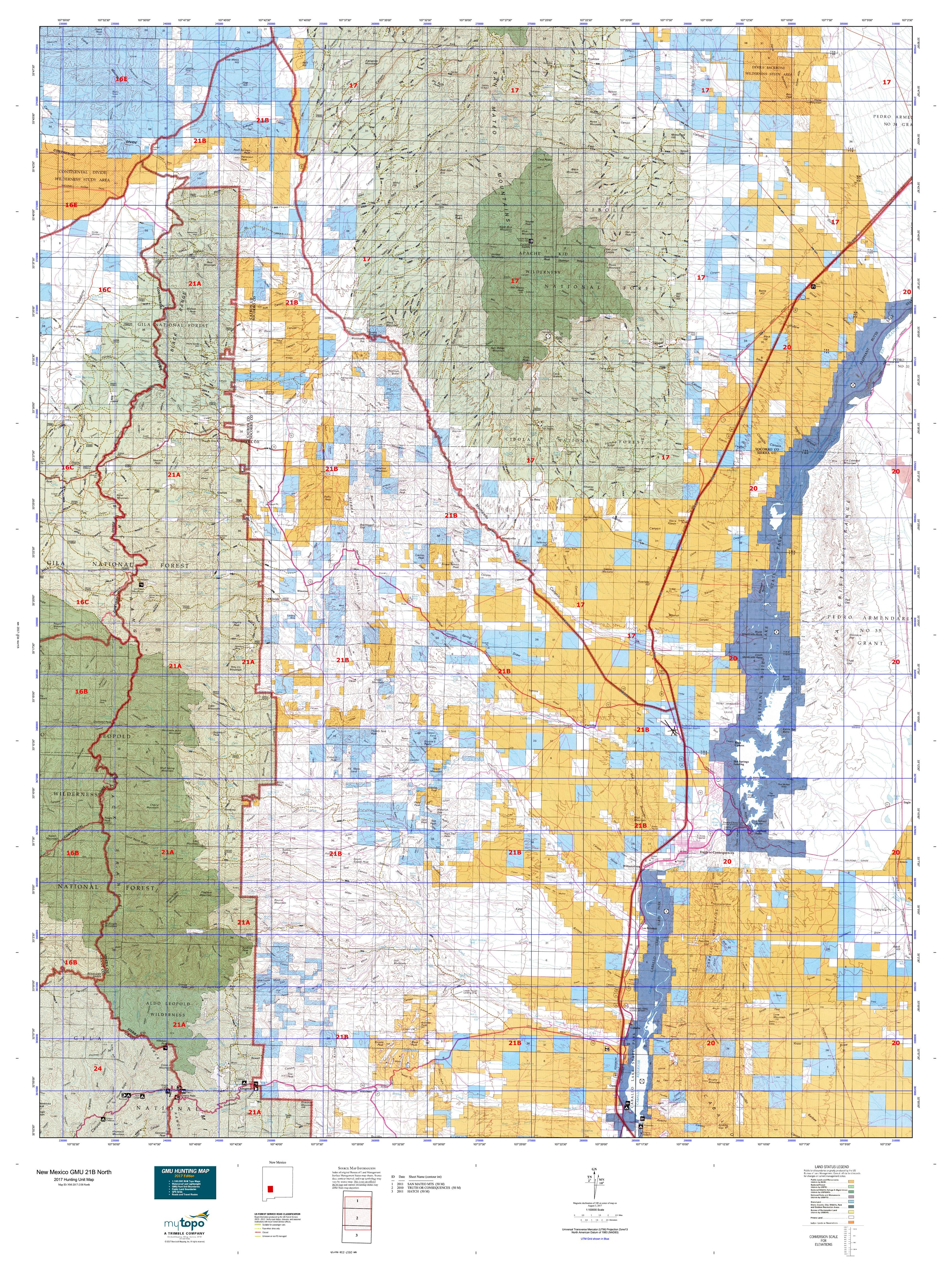 New Mexico GMU B North Map MyTopo - Topographical map of new mexico