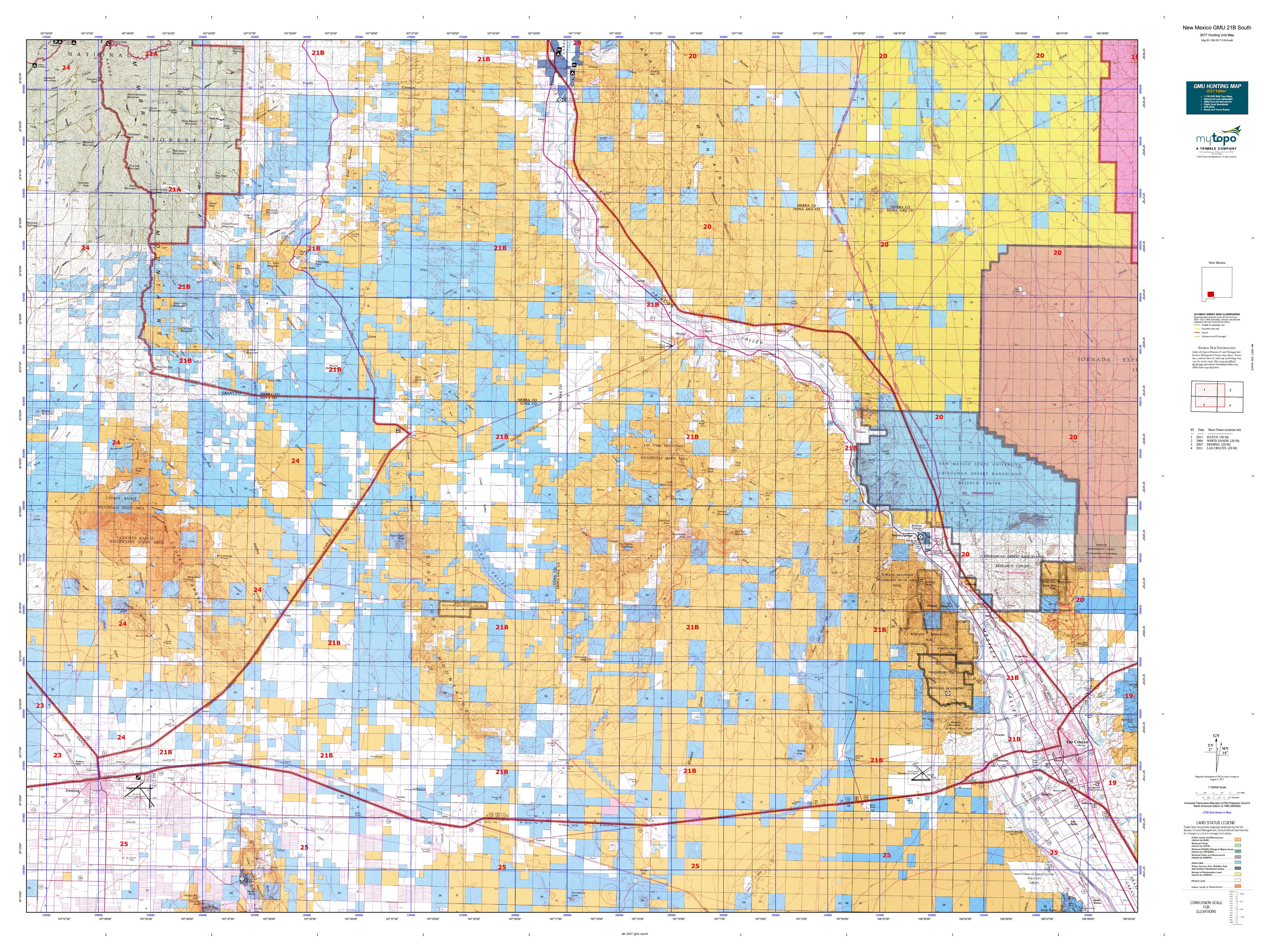 New Mexico GMU B North Map MyTopo - Map nm