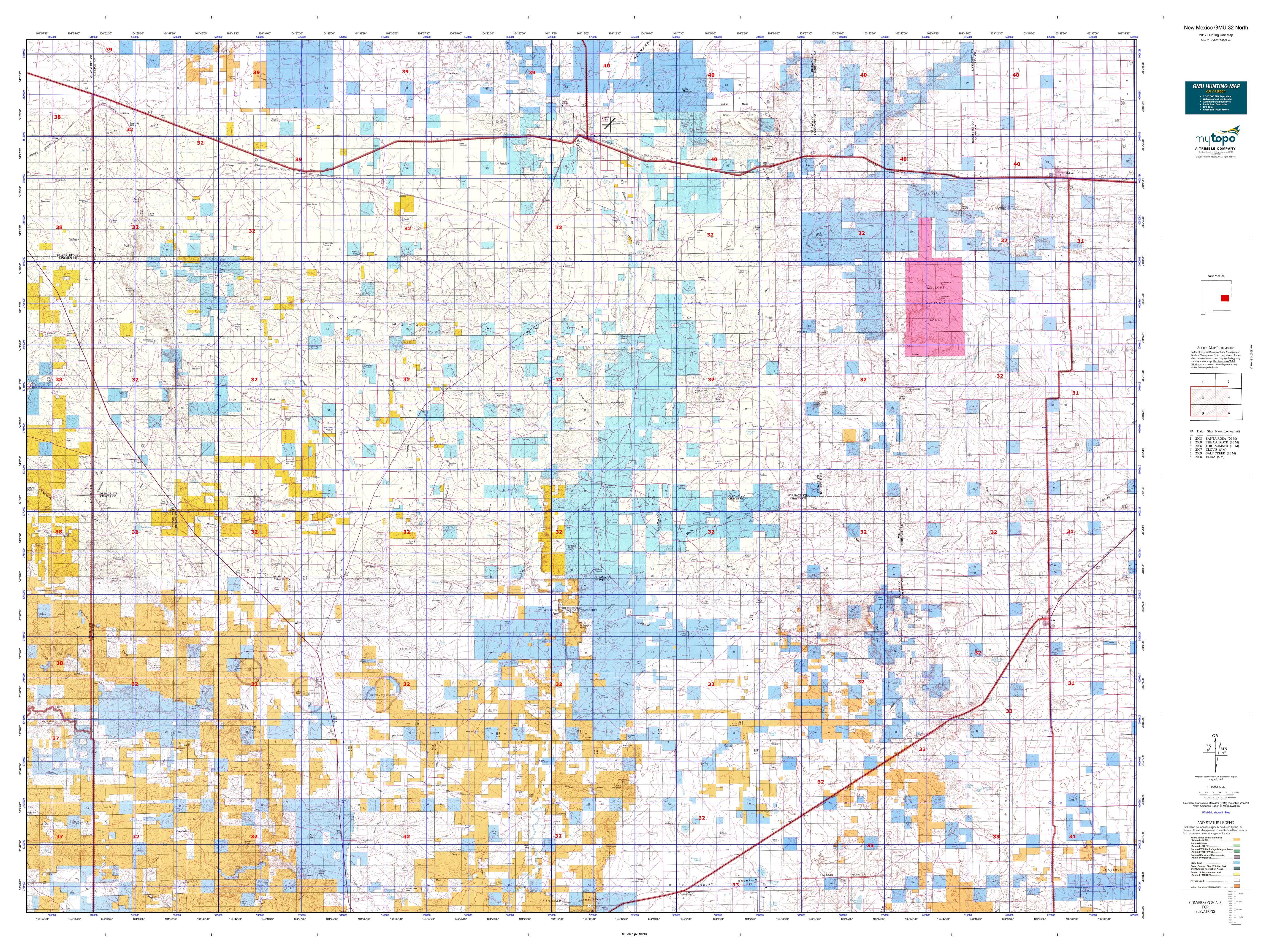 New Mexico GMU South Map MyTopo - Map of nm