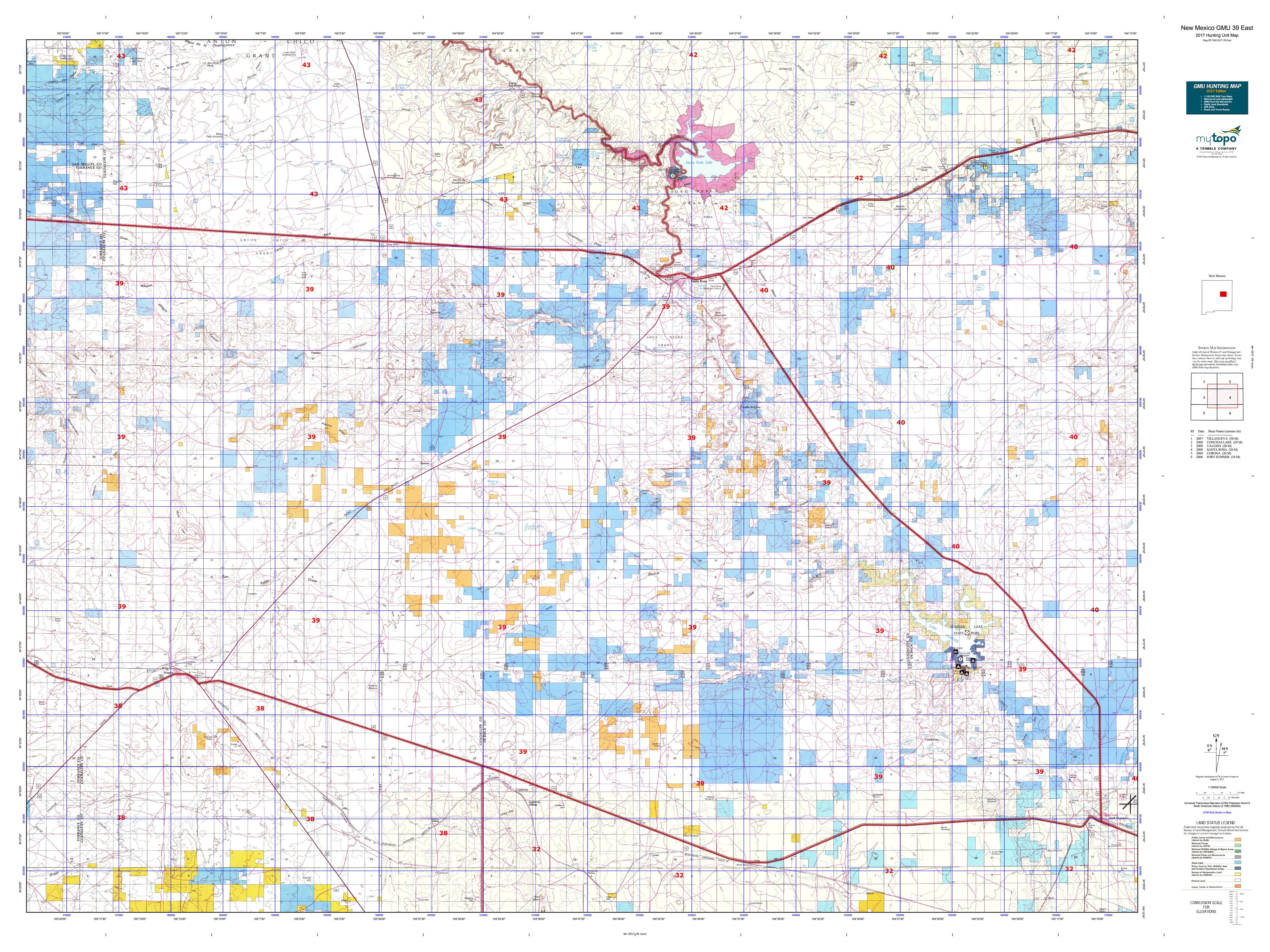 New Mexico GMU East Map MyTopo - Map of nm