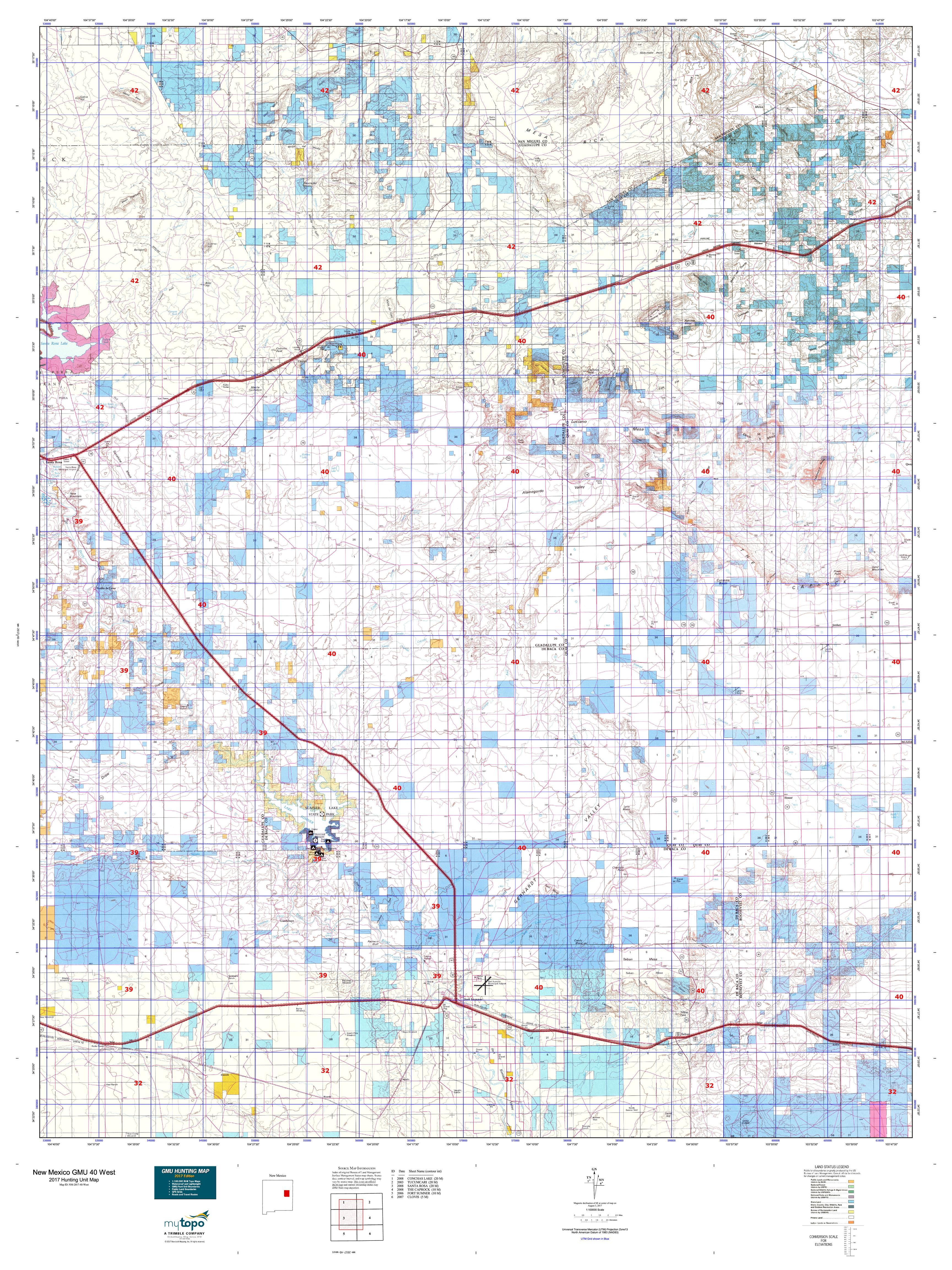 New Mexico GMU East Map MyTopo - Detailed map of new mexico