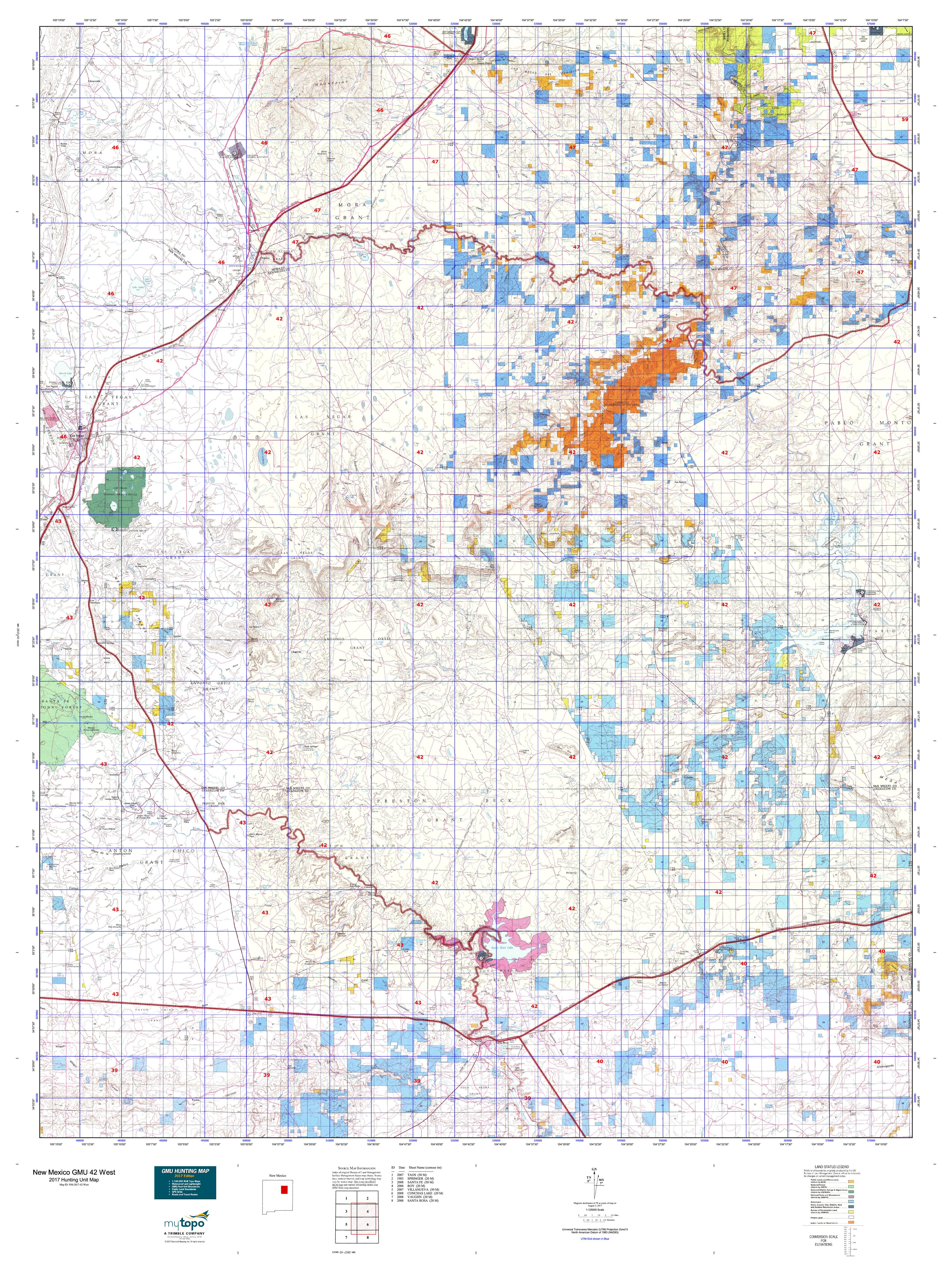 New Mexico GMU East Map MyTopo - Map nm