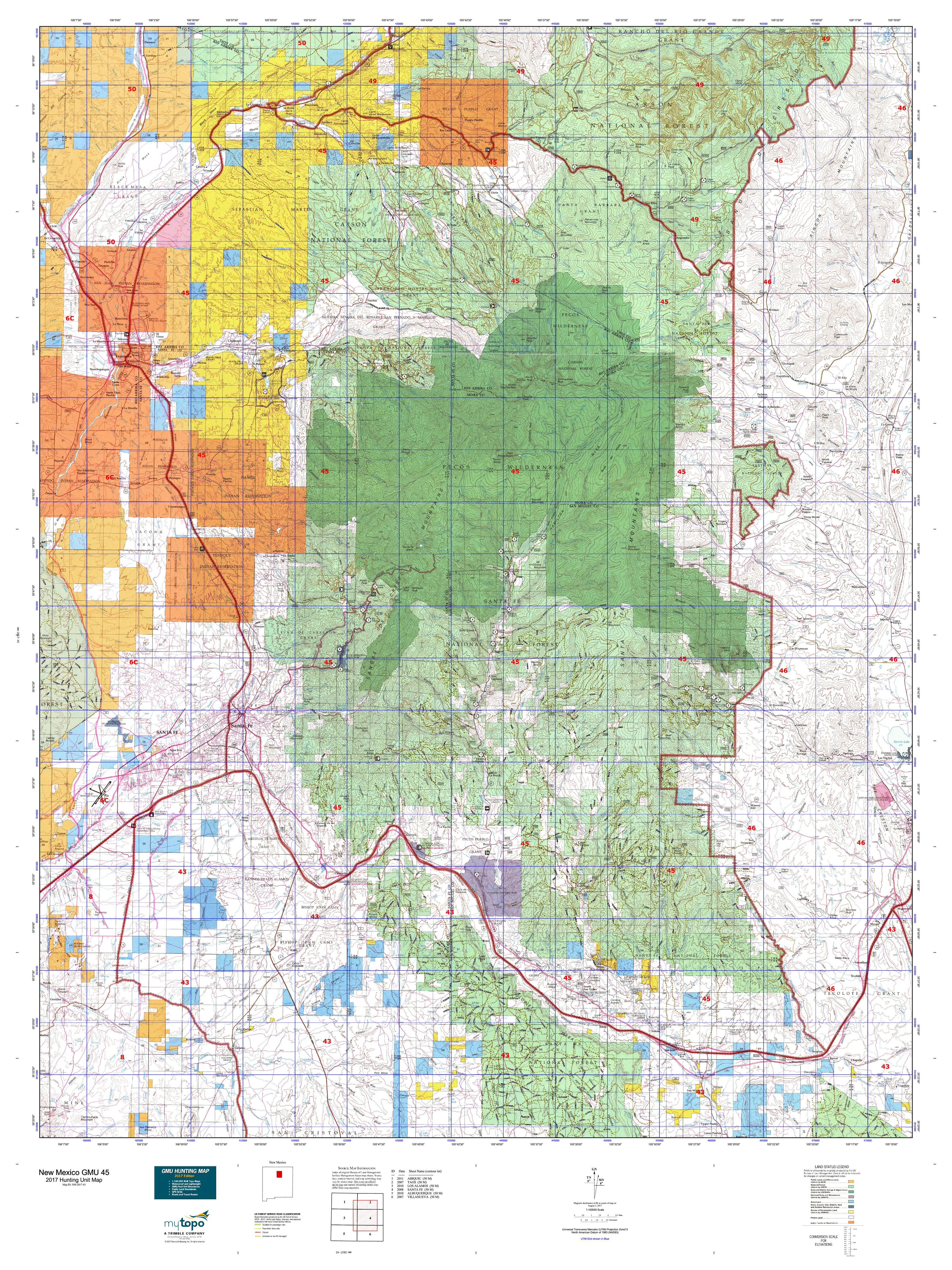 New Mexico GMU Map MyTopo - Map of nm