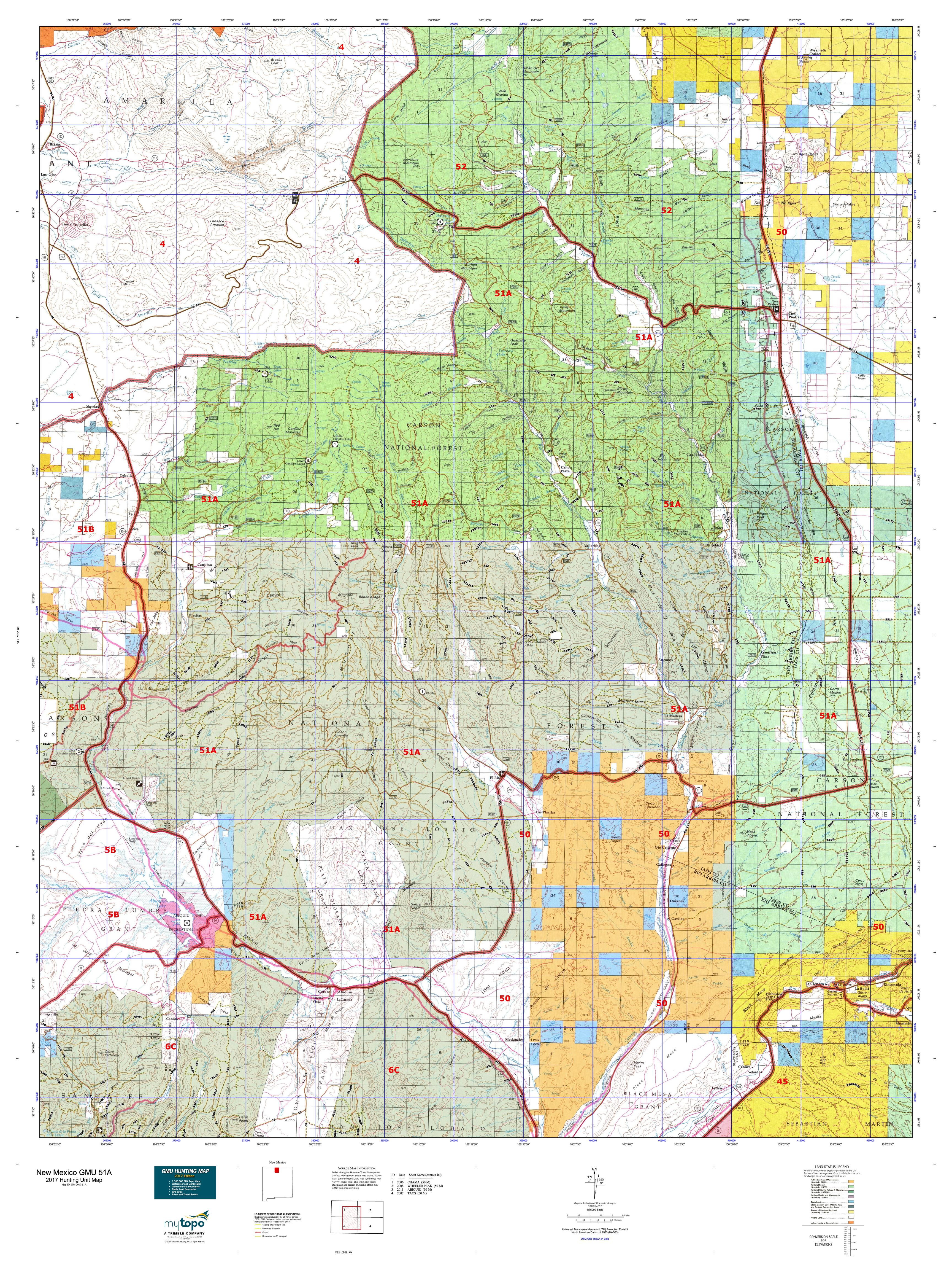 New Mexico GMU A Map MyTopo - Map nm