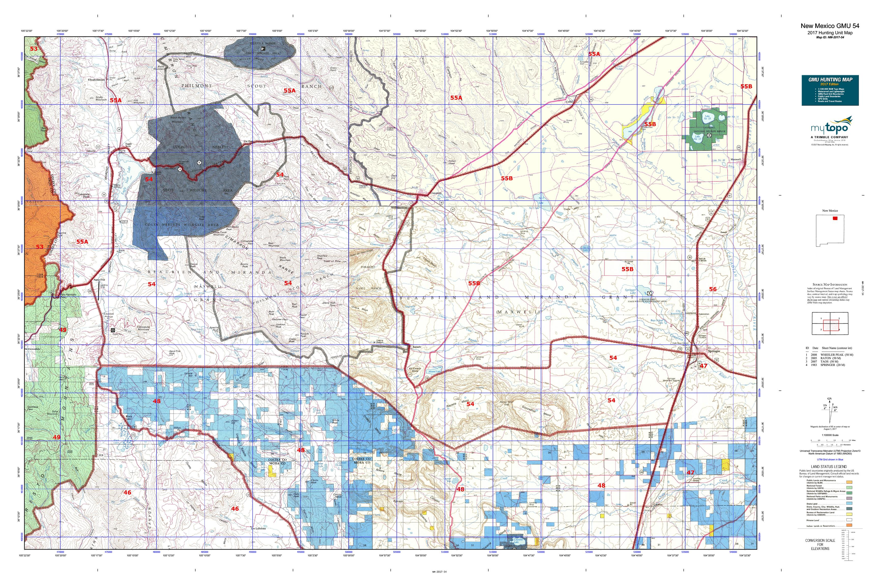 New Mexico GMU Map MyTopo - Map nm