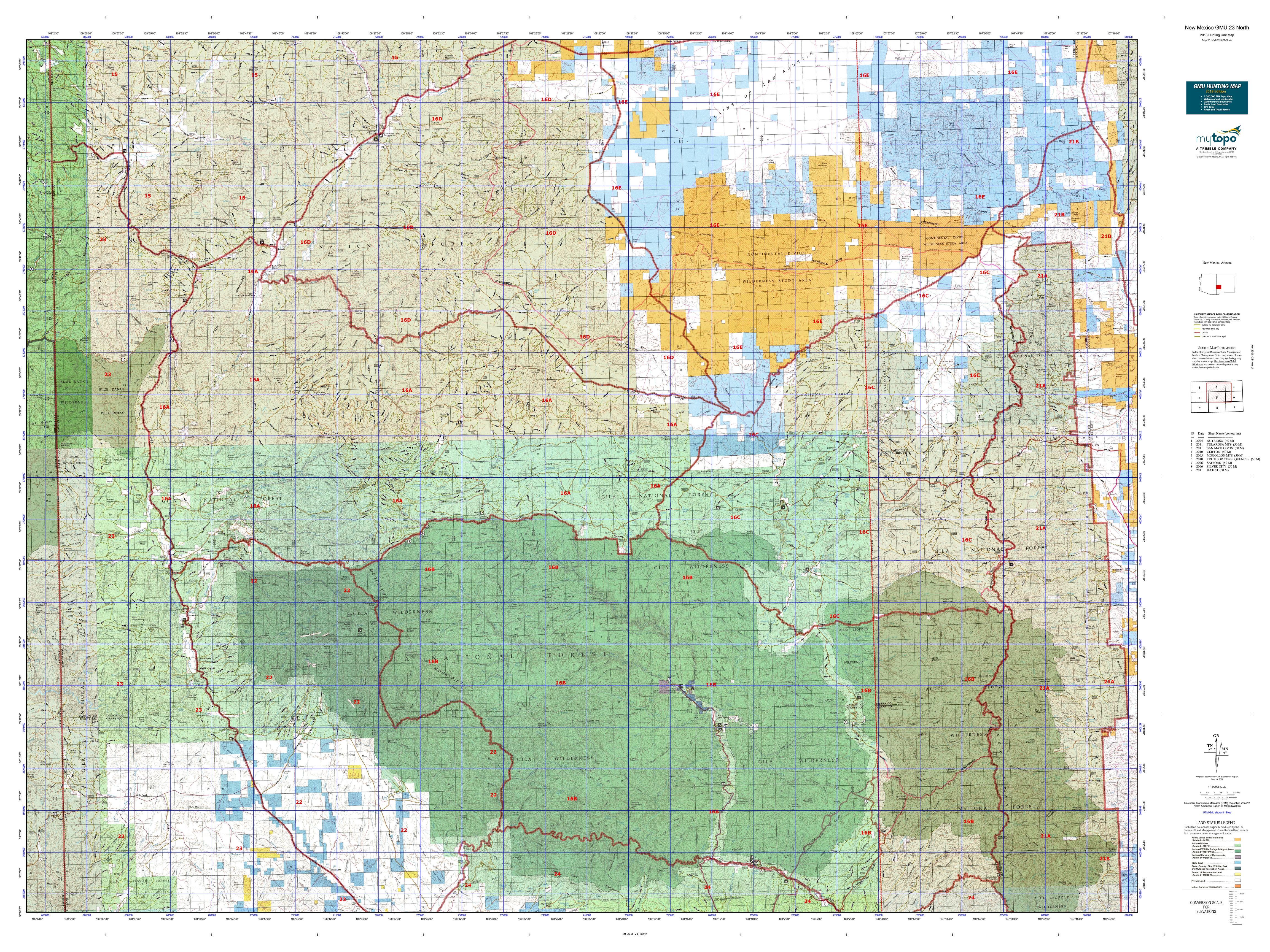 North New Mexico Map.New Mexico Gmu 23 North Map Mytopo