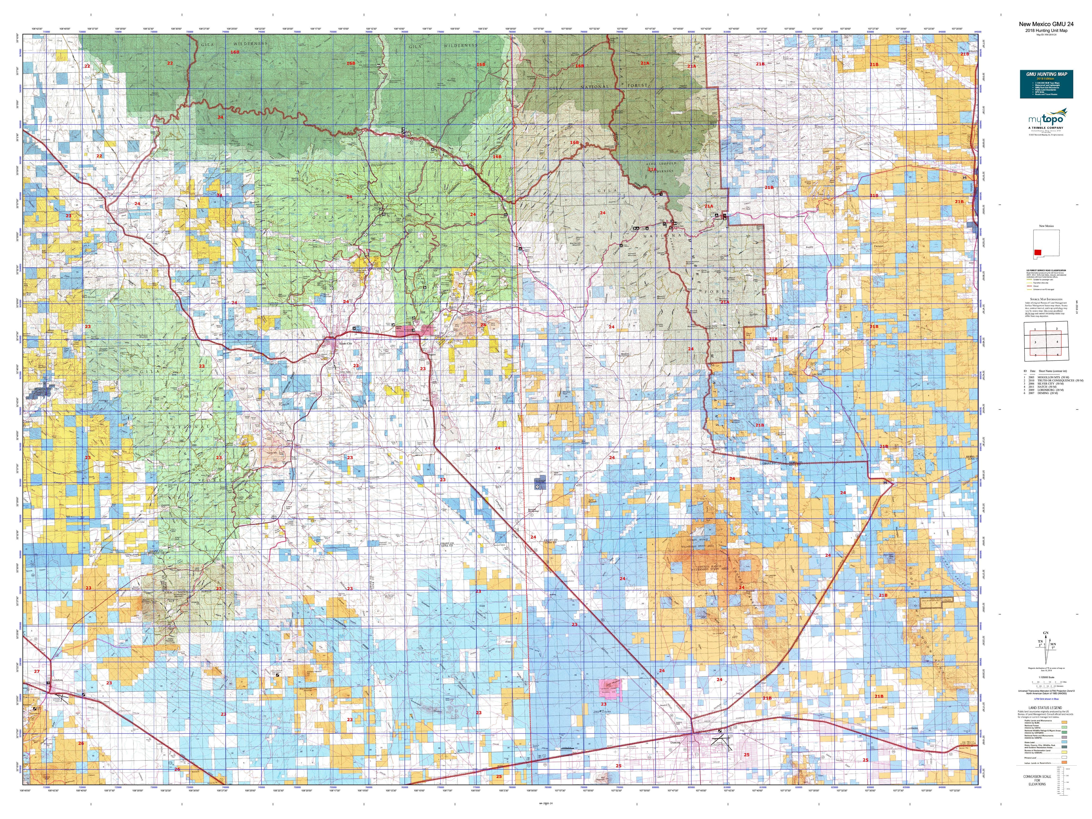 New Mexico GMU 24 Map | MyTopo