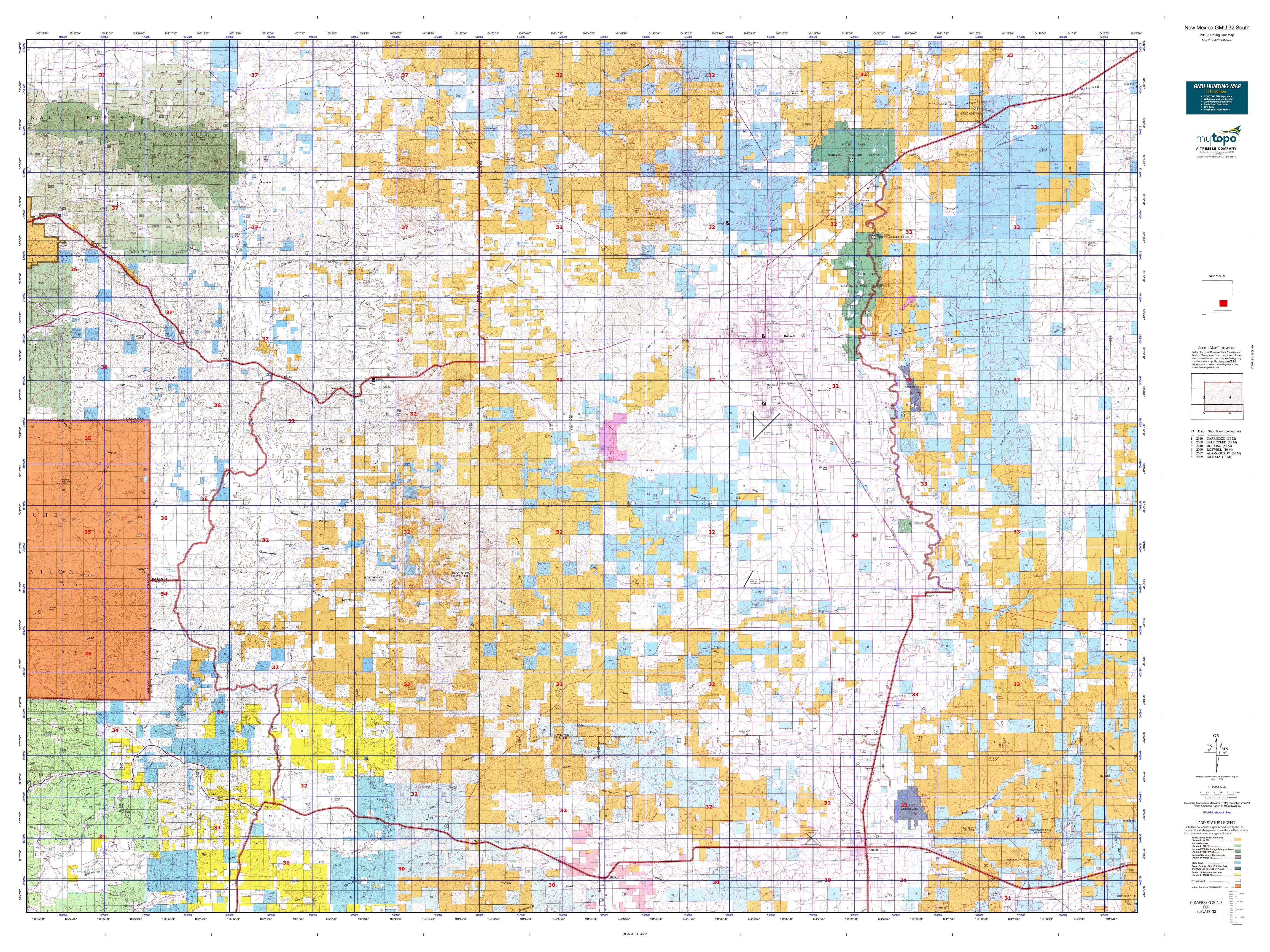 North New Mexico Map.New Mexico Gmu 32 South Map Mytopo