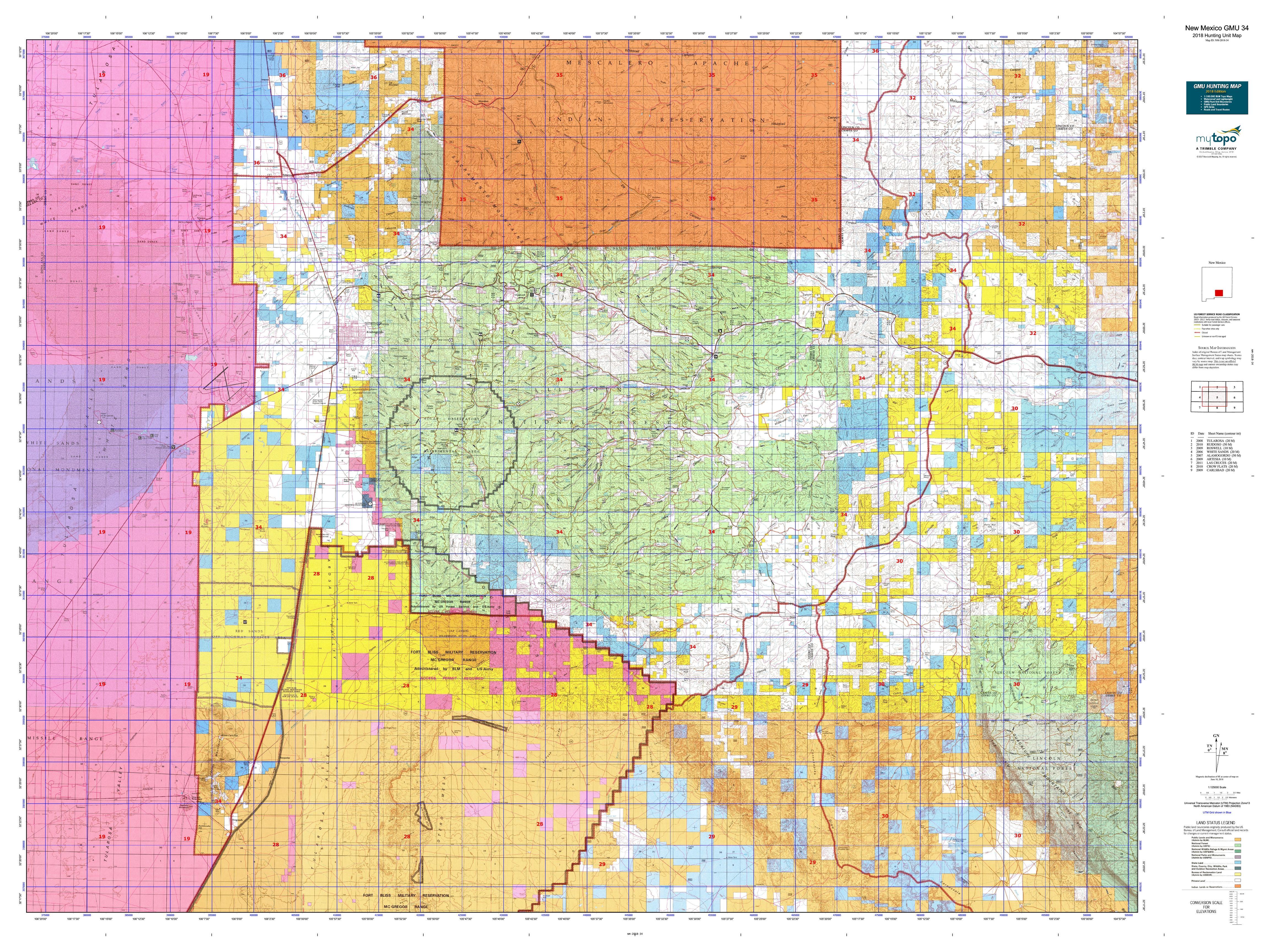 New Mexico Gmu 34 Map Mytopo