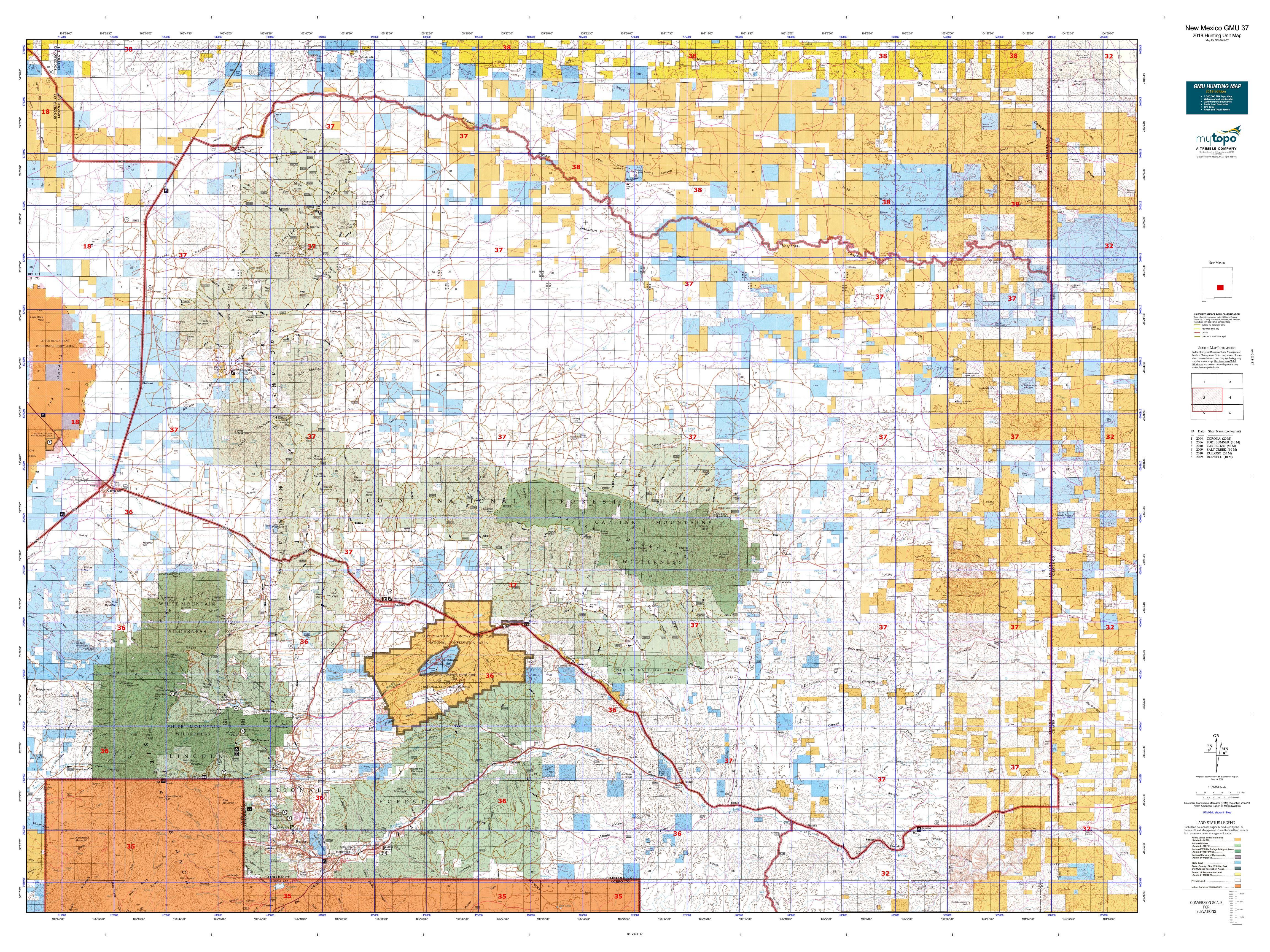 New Mexico Gmu 37 Map Mytopo