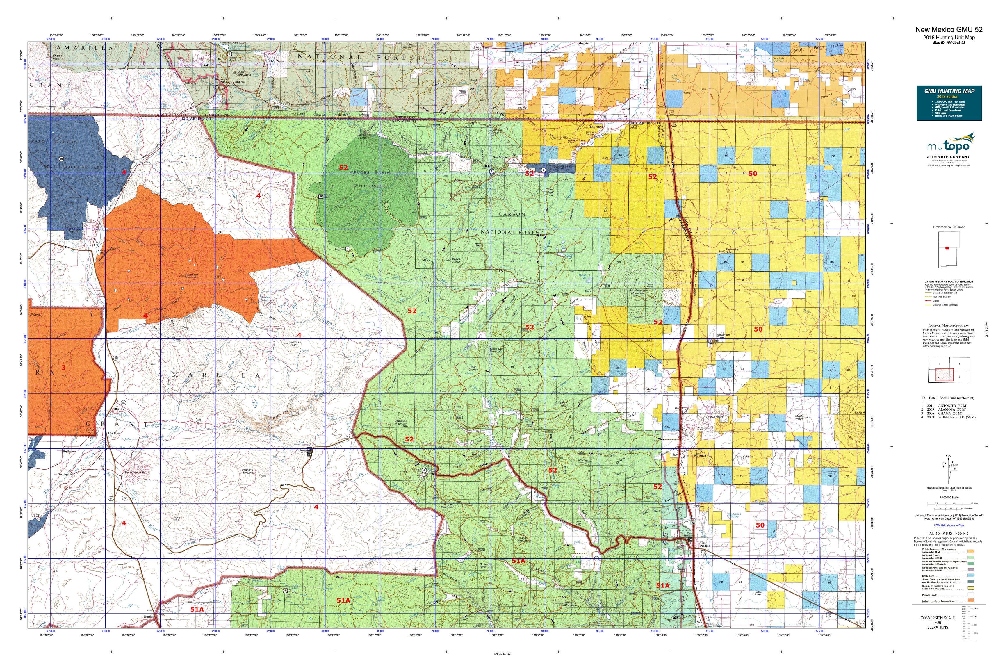 New Mexico GMU 52 Map | MyTopo