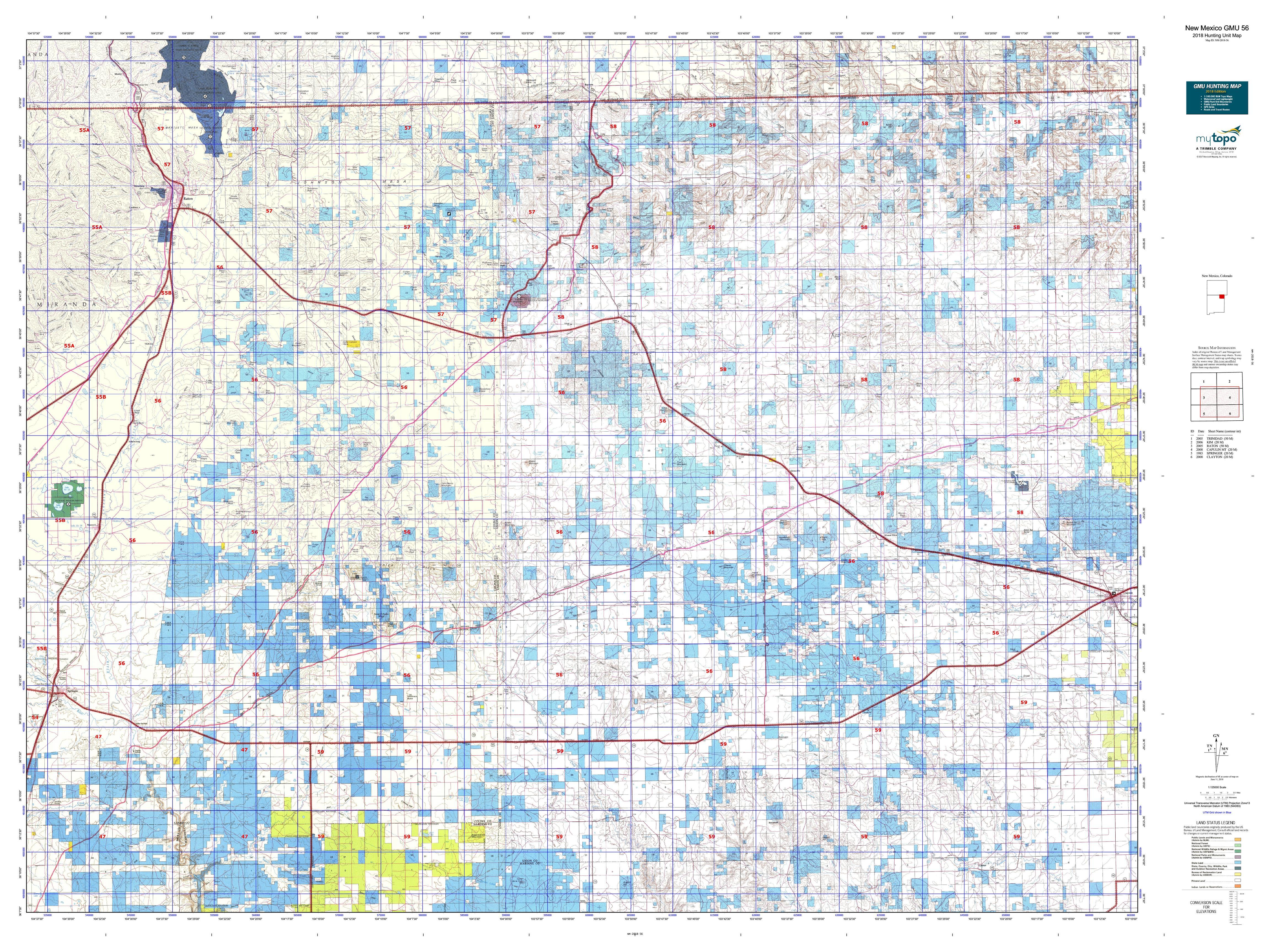 New Mexico Gmu 56 Map Mytopo