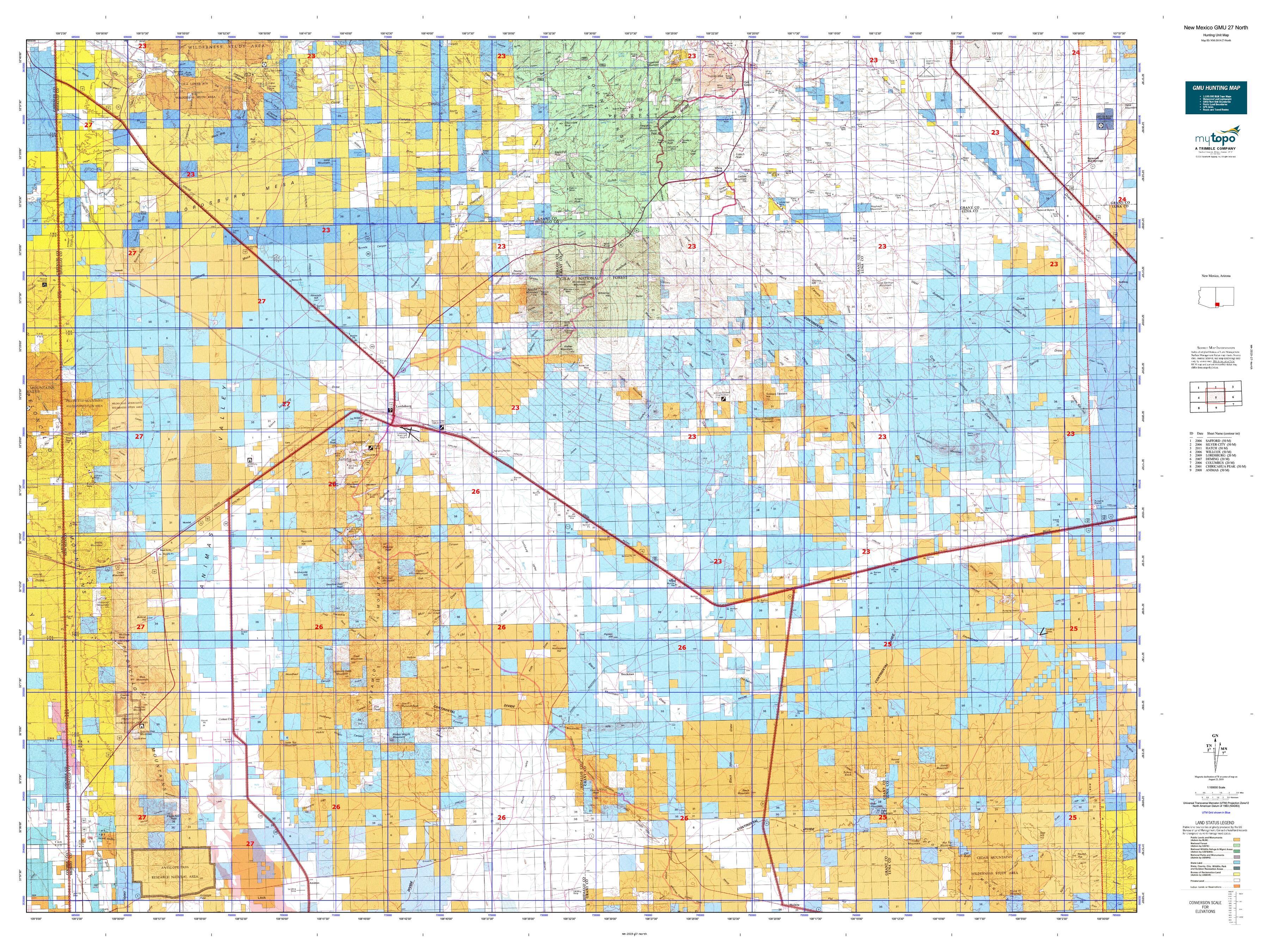 New Mexico GMU 27 North Map   MyTopo