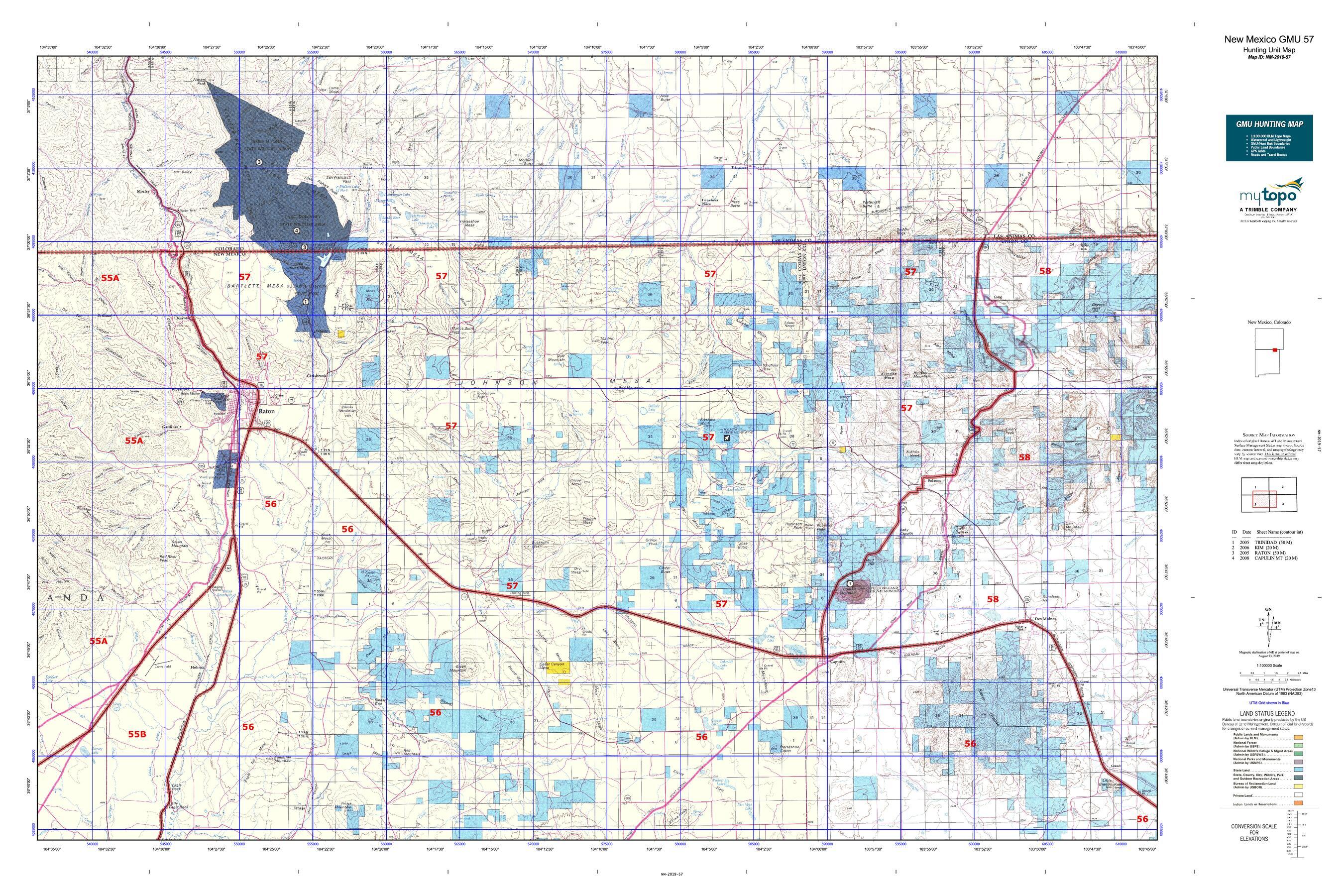 New Mexico GMU 57 Map   MyTopo