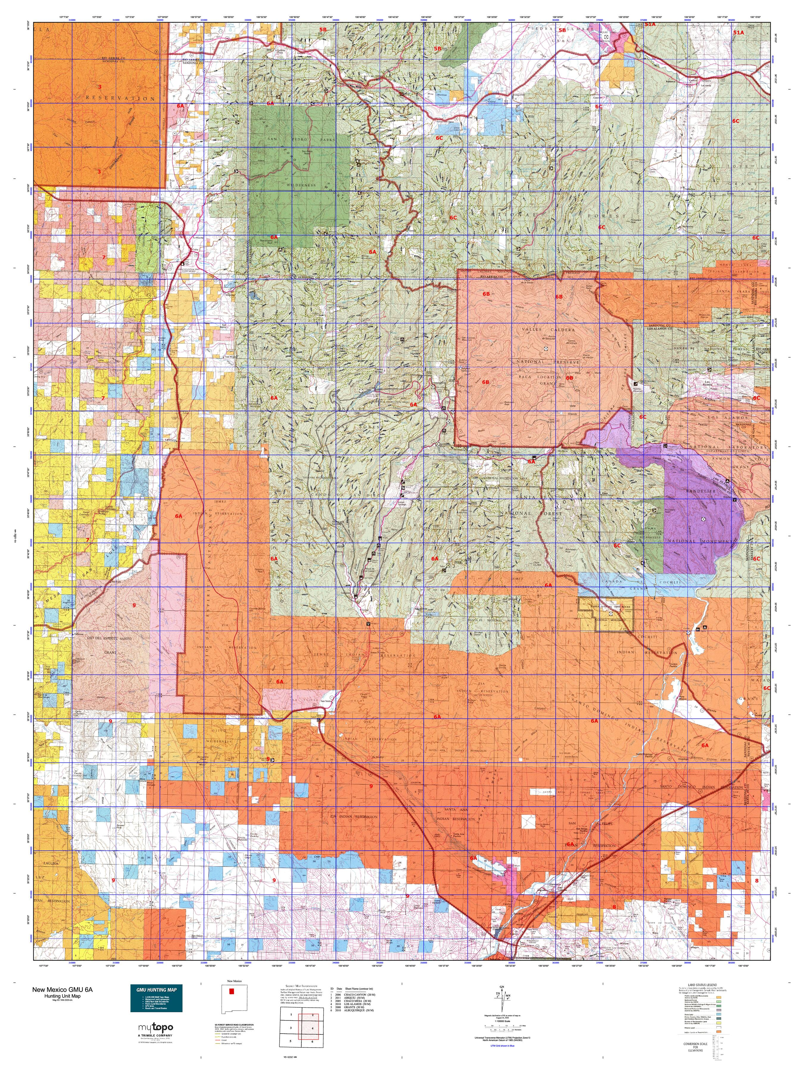 unit 6a new mexico map New Mexico Gmu 6a Map Mytopo