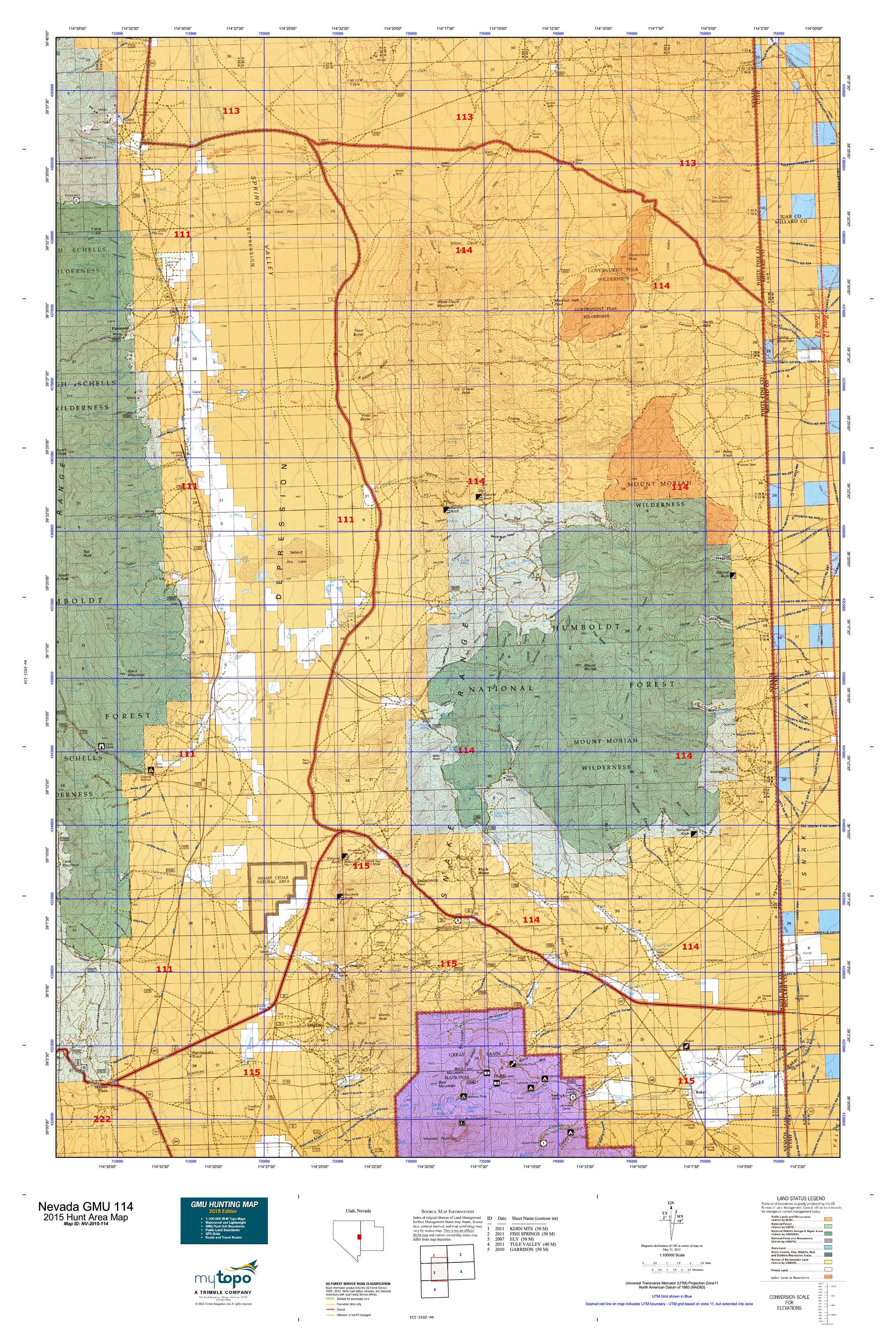Nevada GMU 114 Map  MyTopo