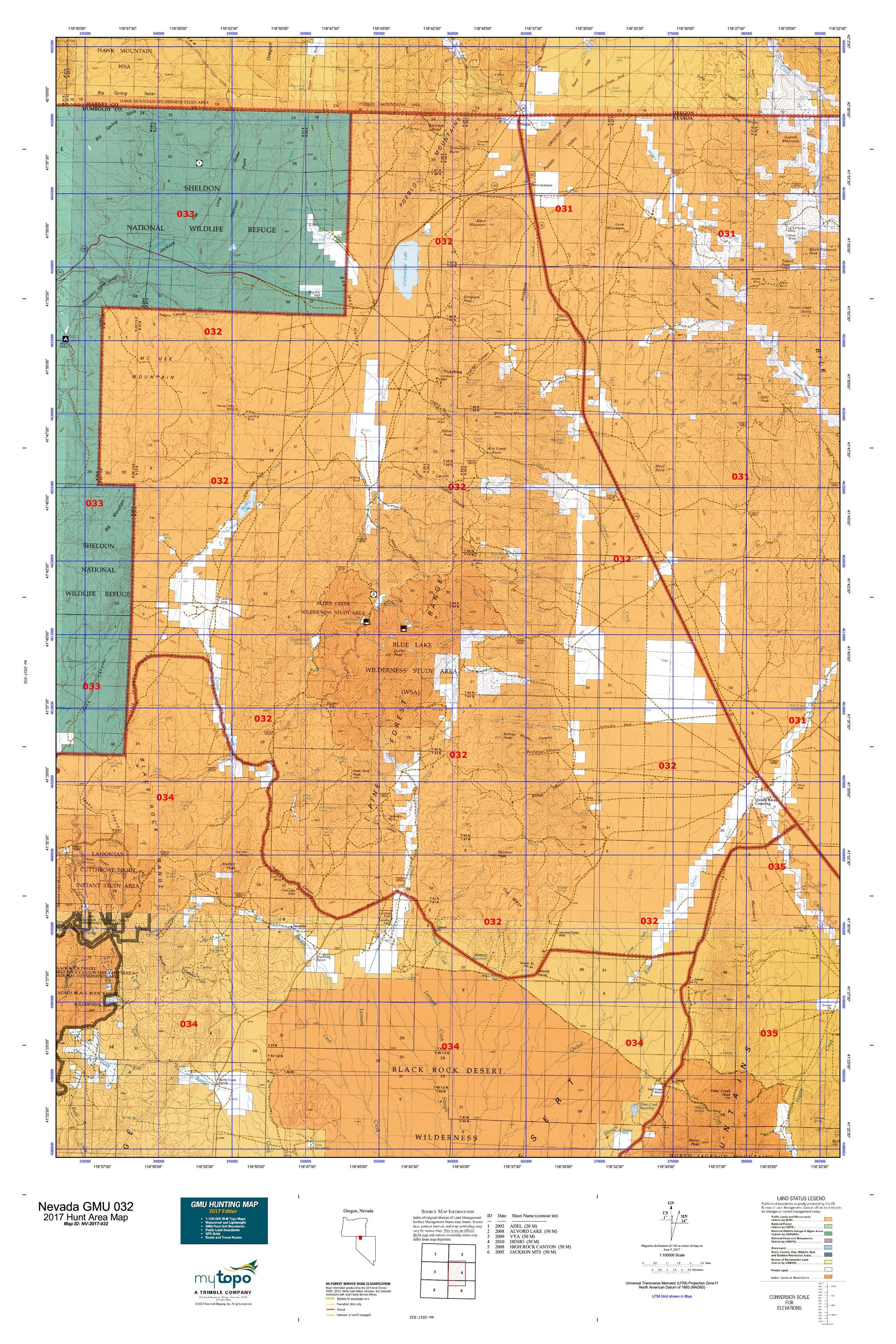 Nevada GMU Map MyTopo - A map of nevada