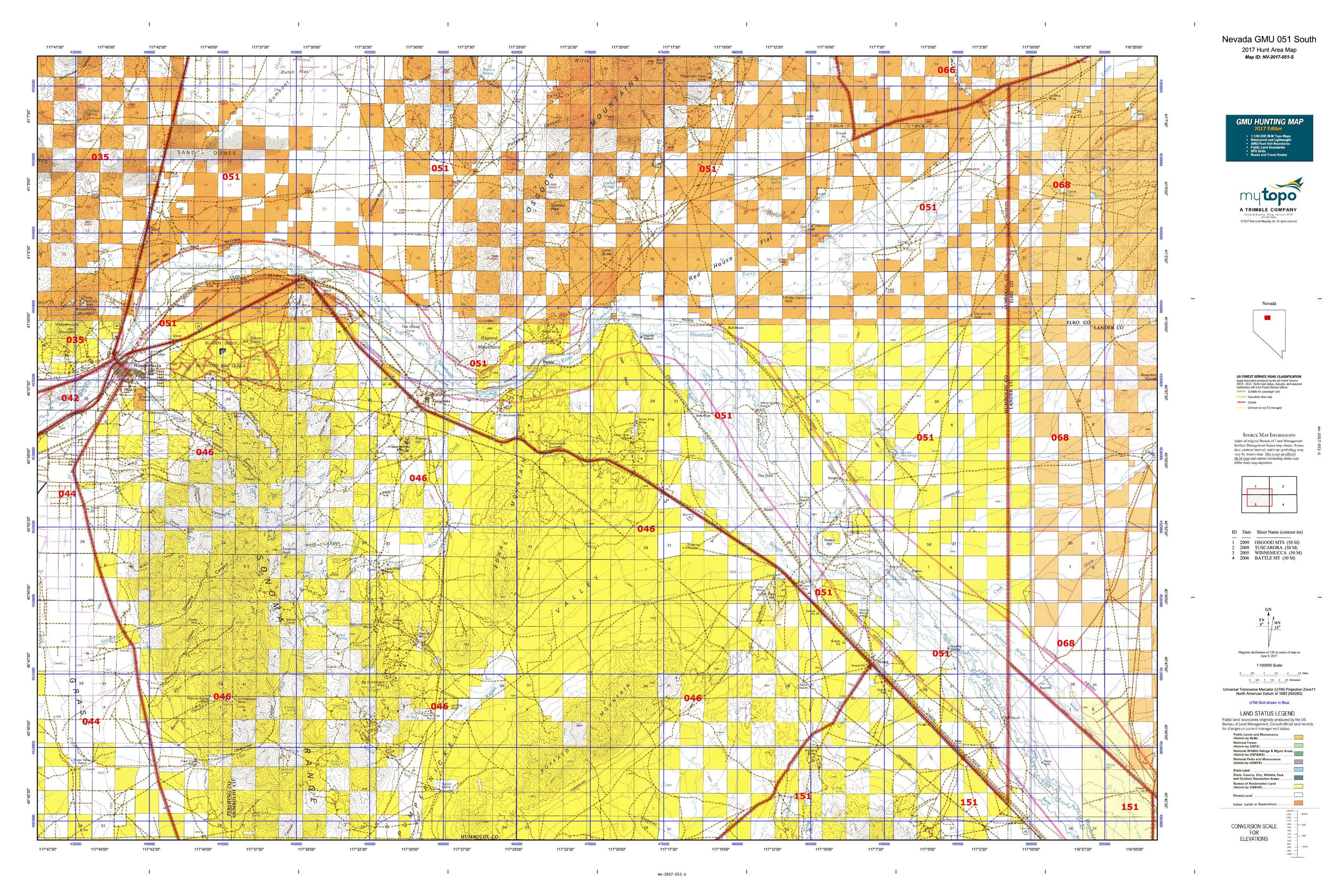 Nevada GMU North Map MyTopo - Nevada map