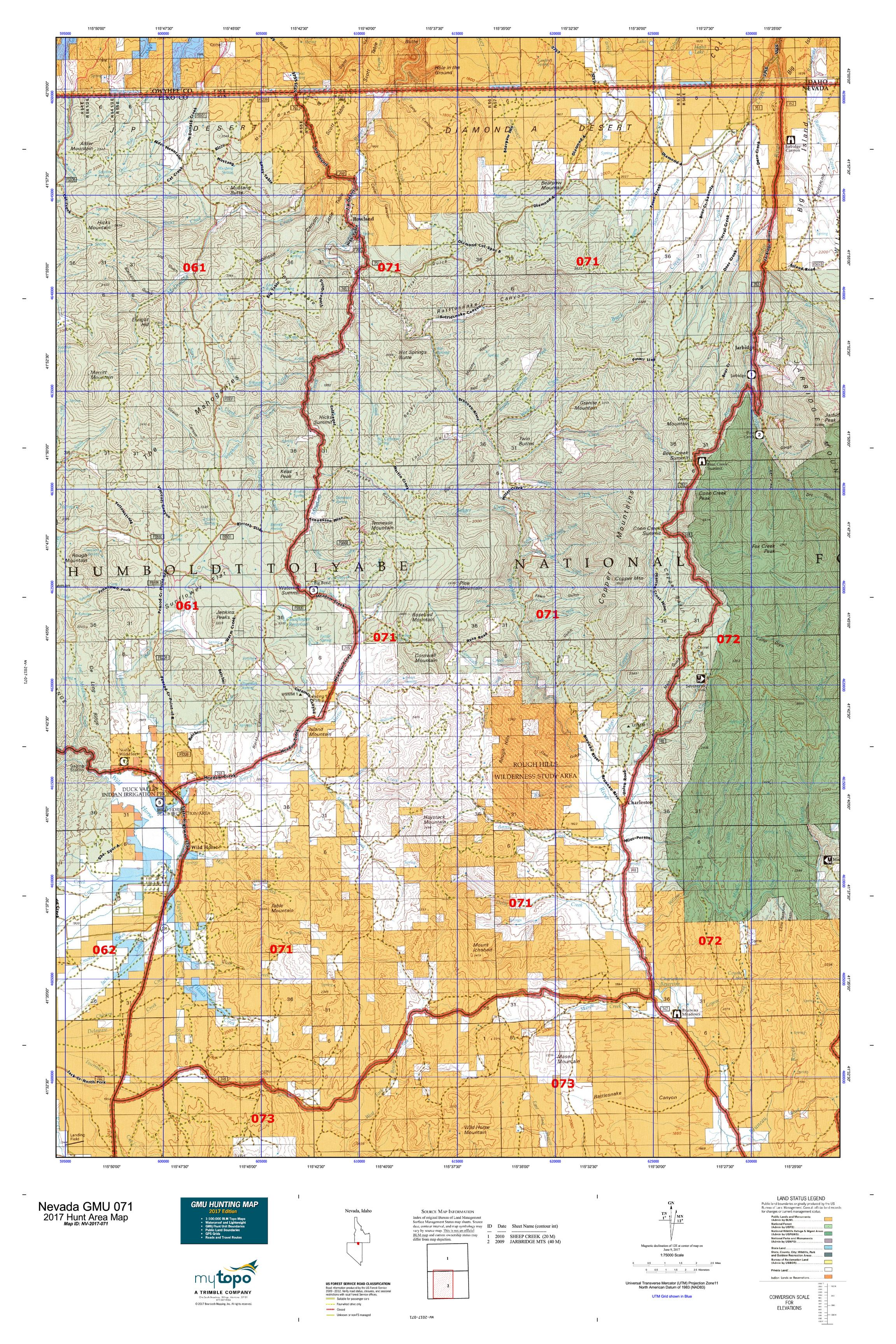 Nevada GMU Map MyTopo - Map of nv