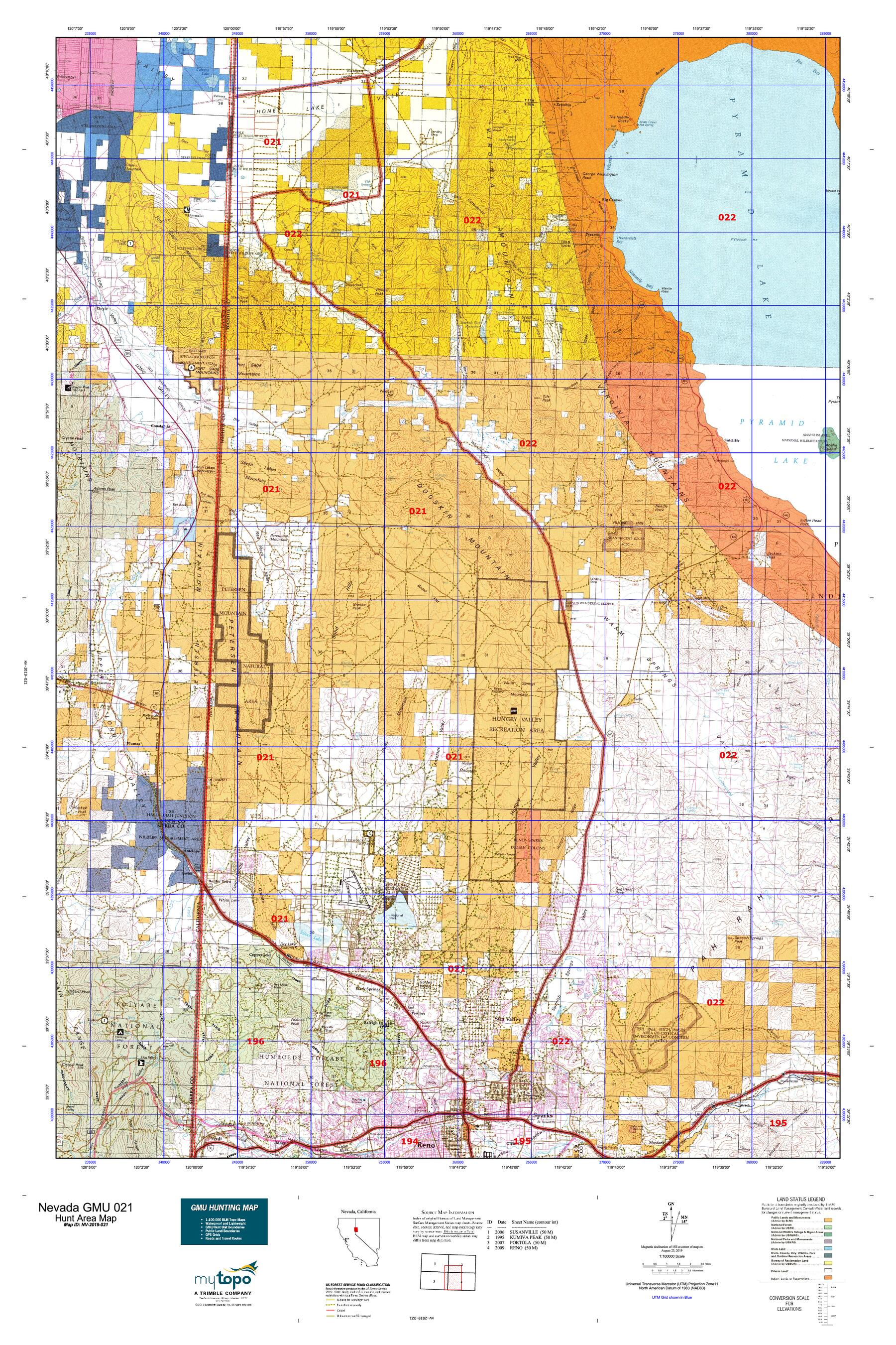 Nevada GMU 021 Map   MyTopo