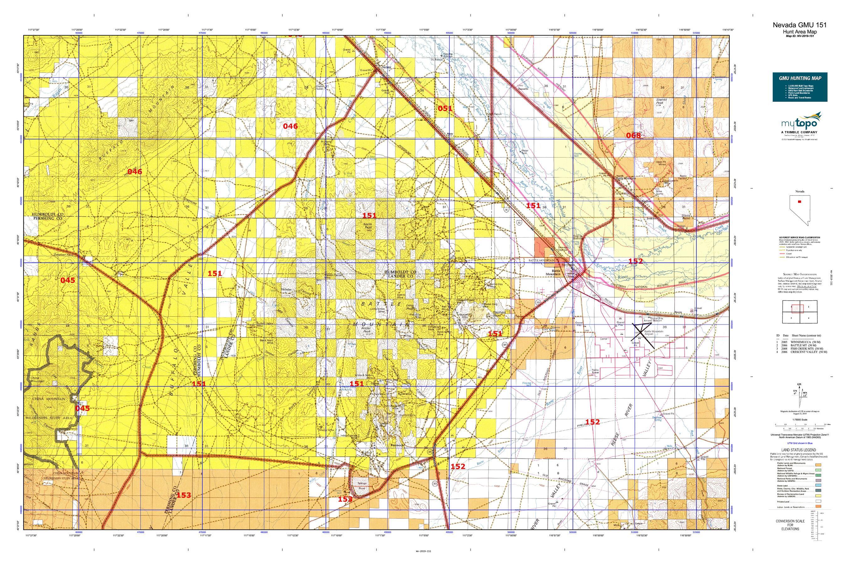 Nevada GMU 151 Map   MyTopo