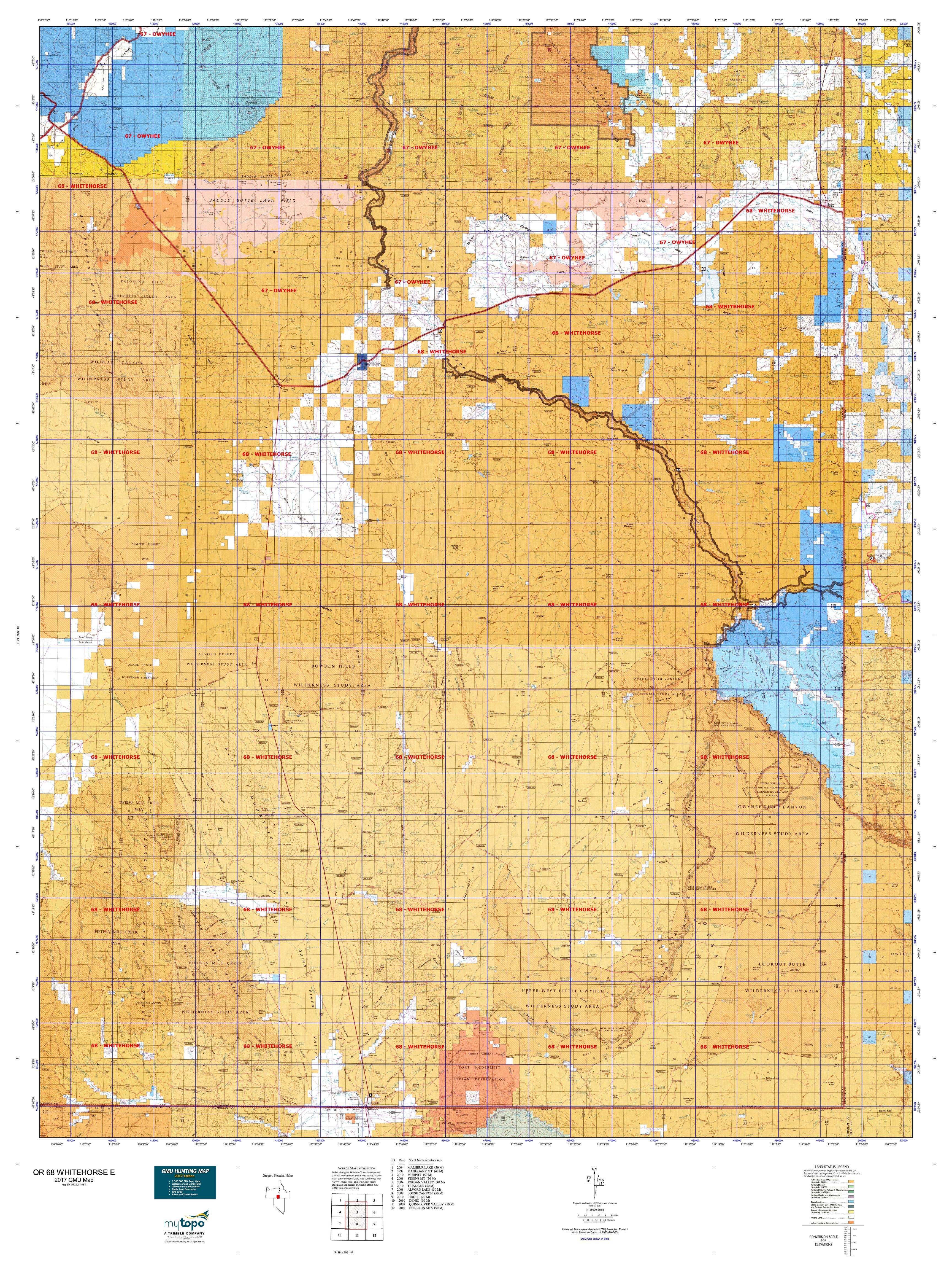 OR WHITEHORSE E Map MyTopo - Us 68 map