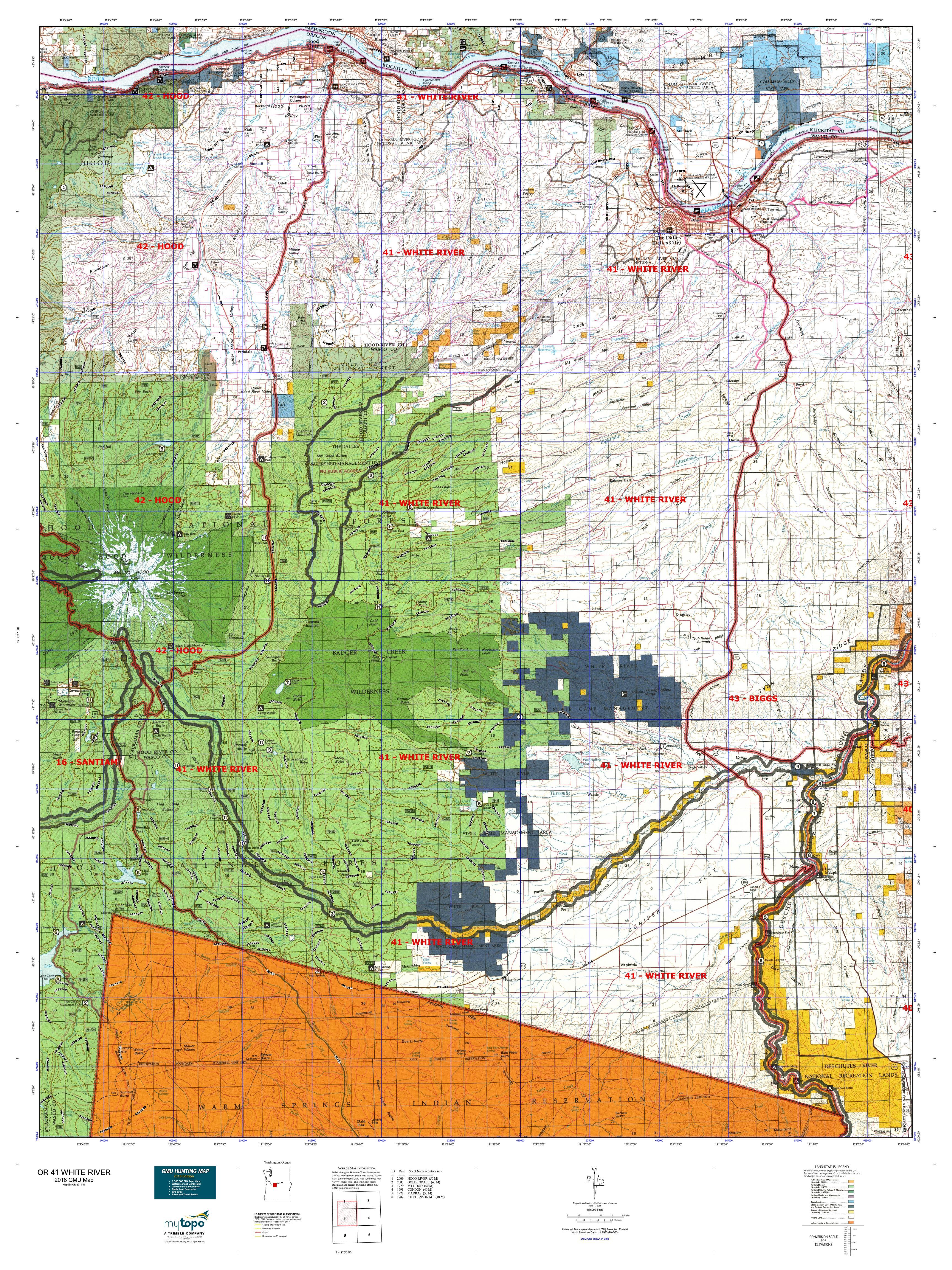 OR 41 WHITE RIVER Map | MyTopo