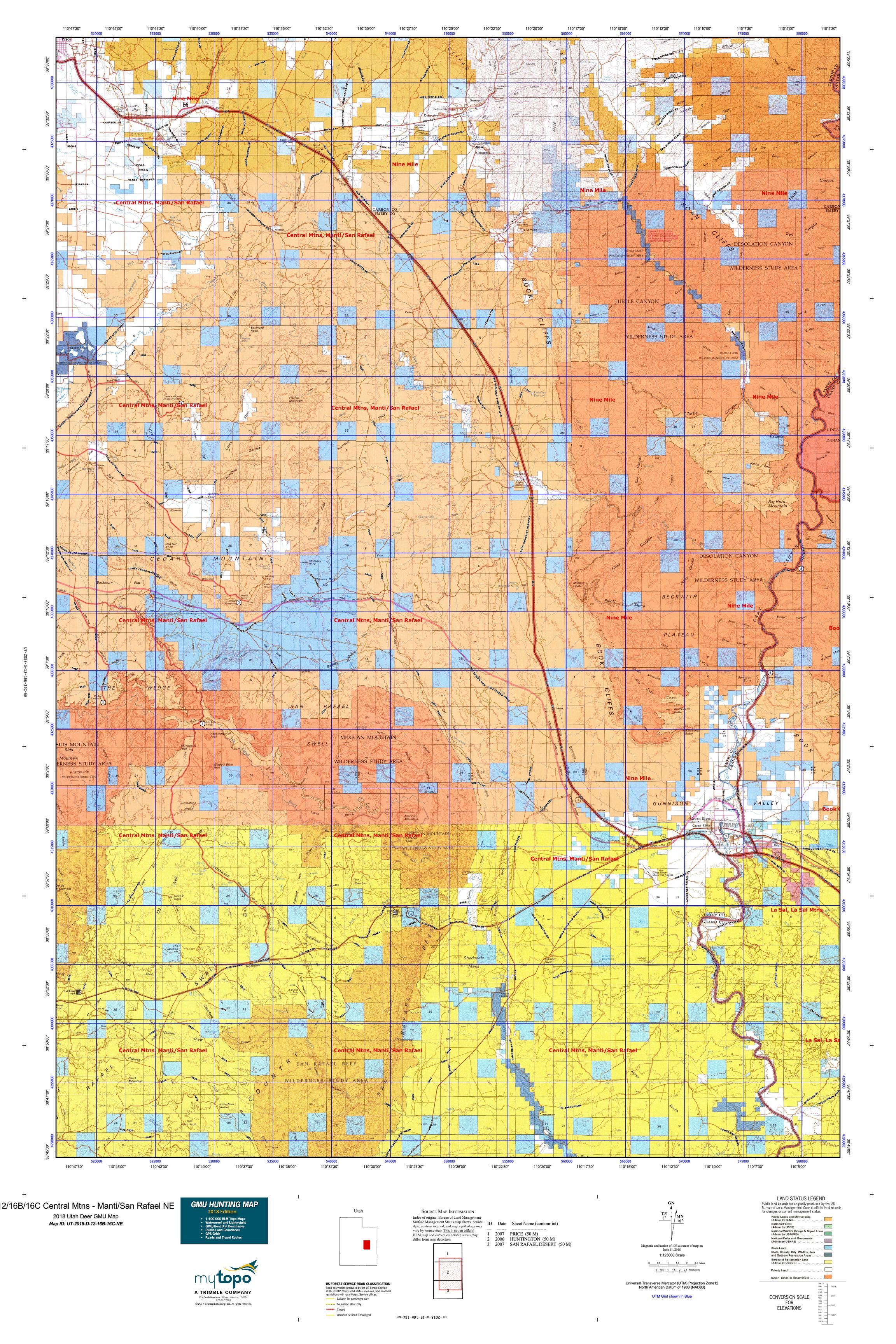 12 16b 16c Central Mtns Manti San Rafael Ne Map Mytopo