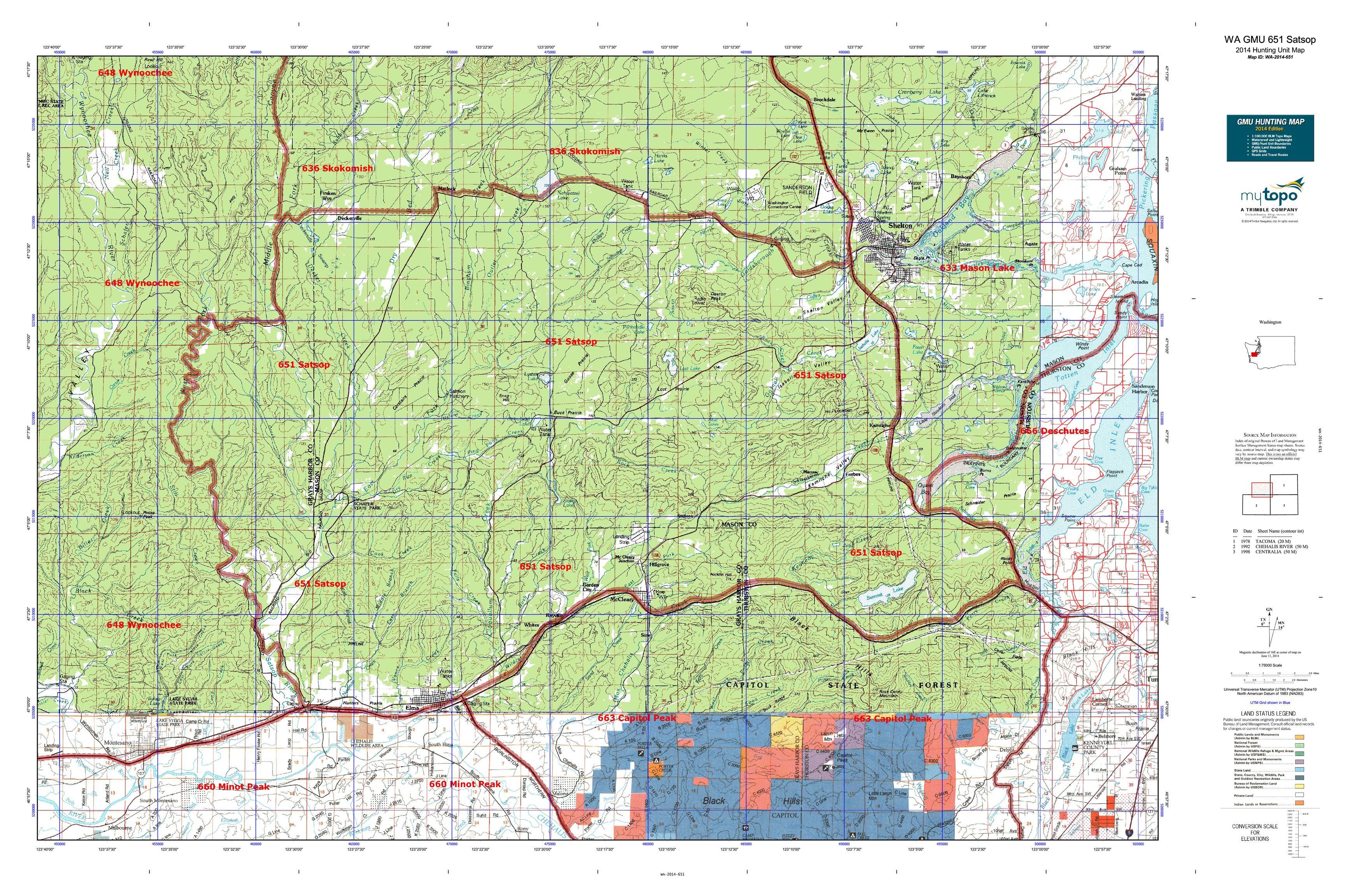 WA GMU 651 Satsop Map | MyTopo