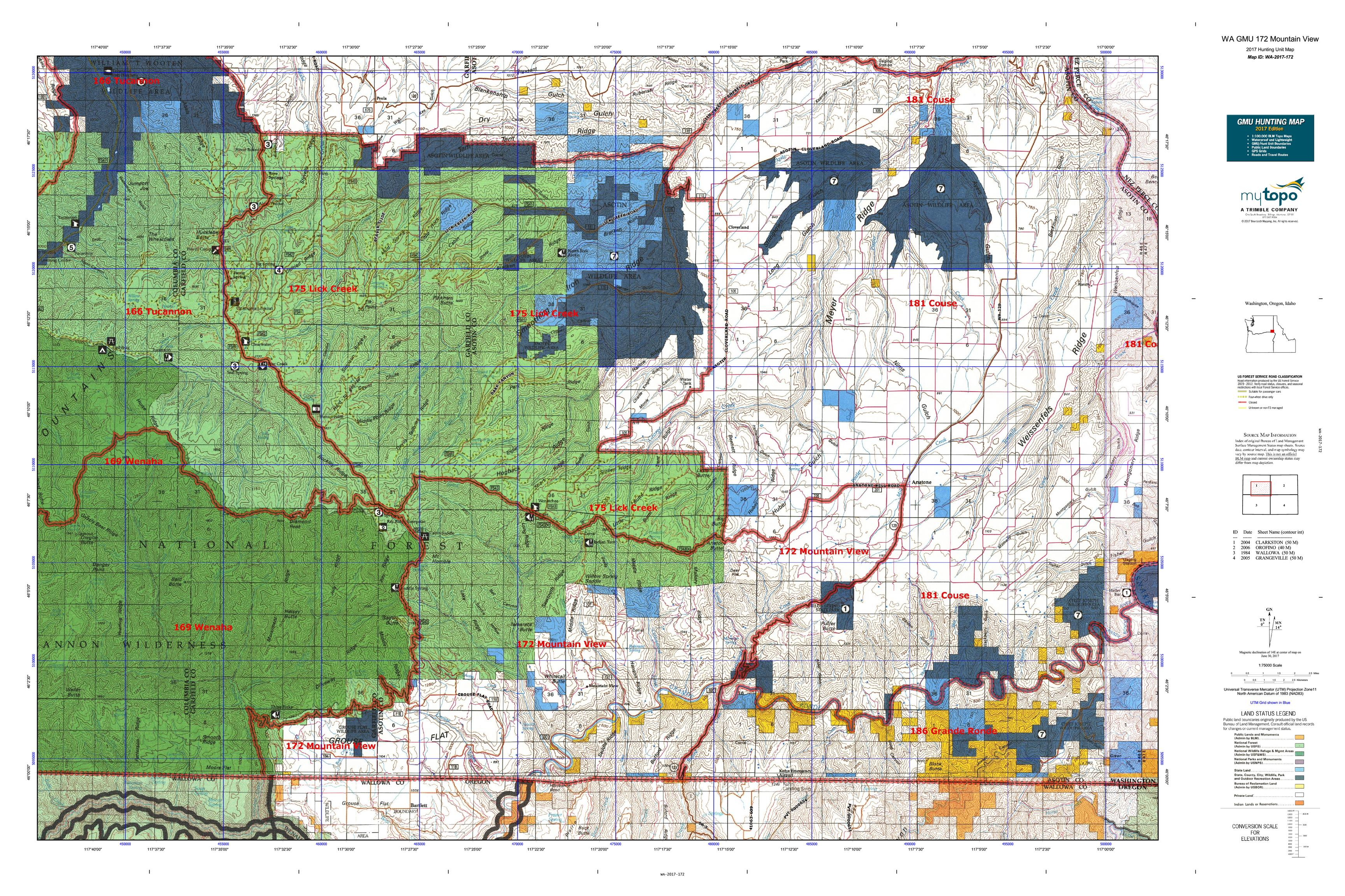 WA GMU 172 Mountain View Map MyTopo
