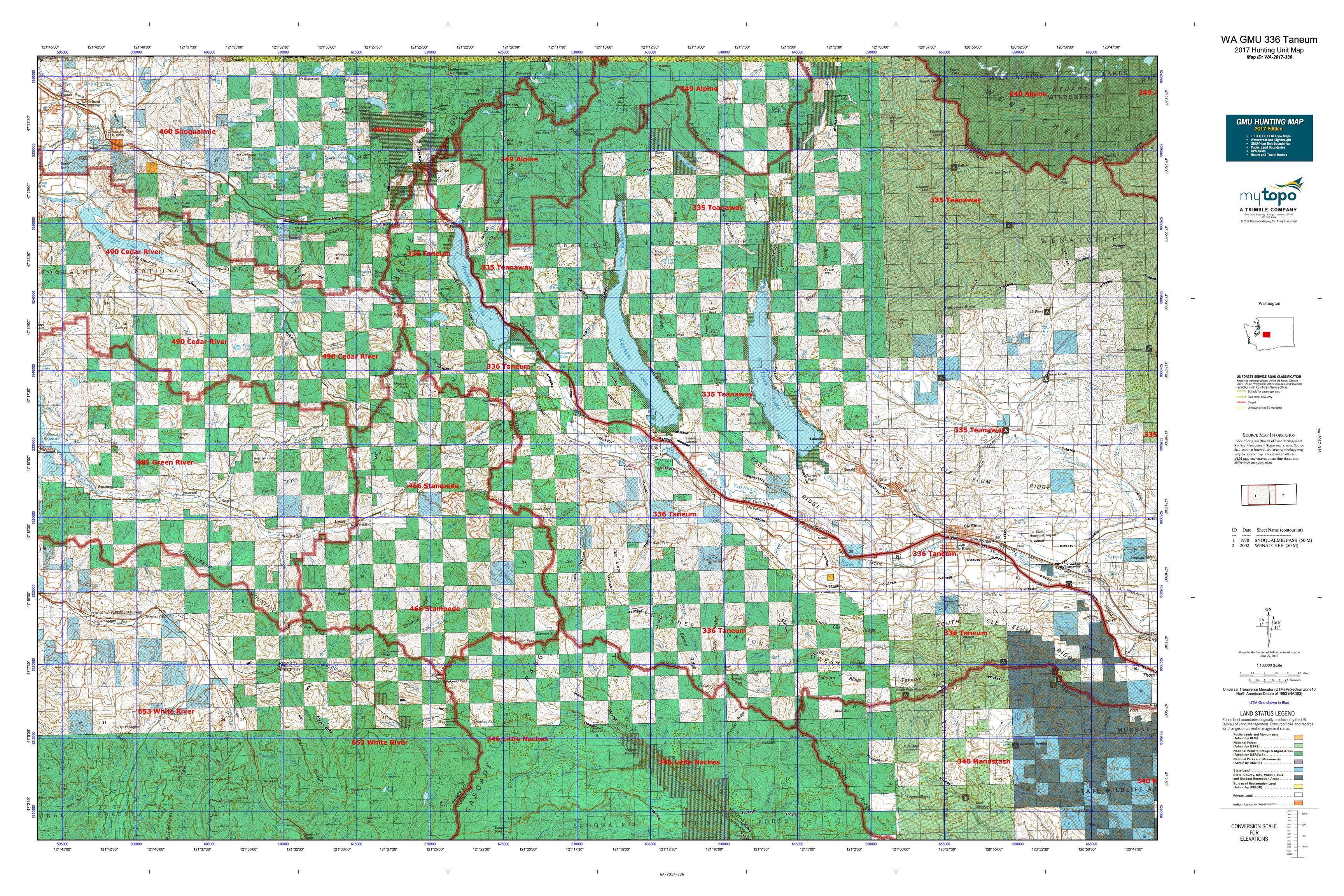 WA GMU Taneum Map MyTopo - Detailed map of washington state