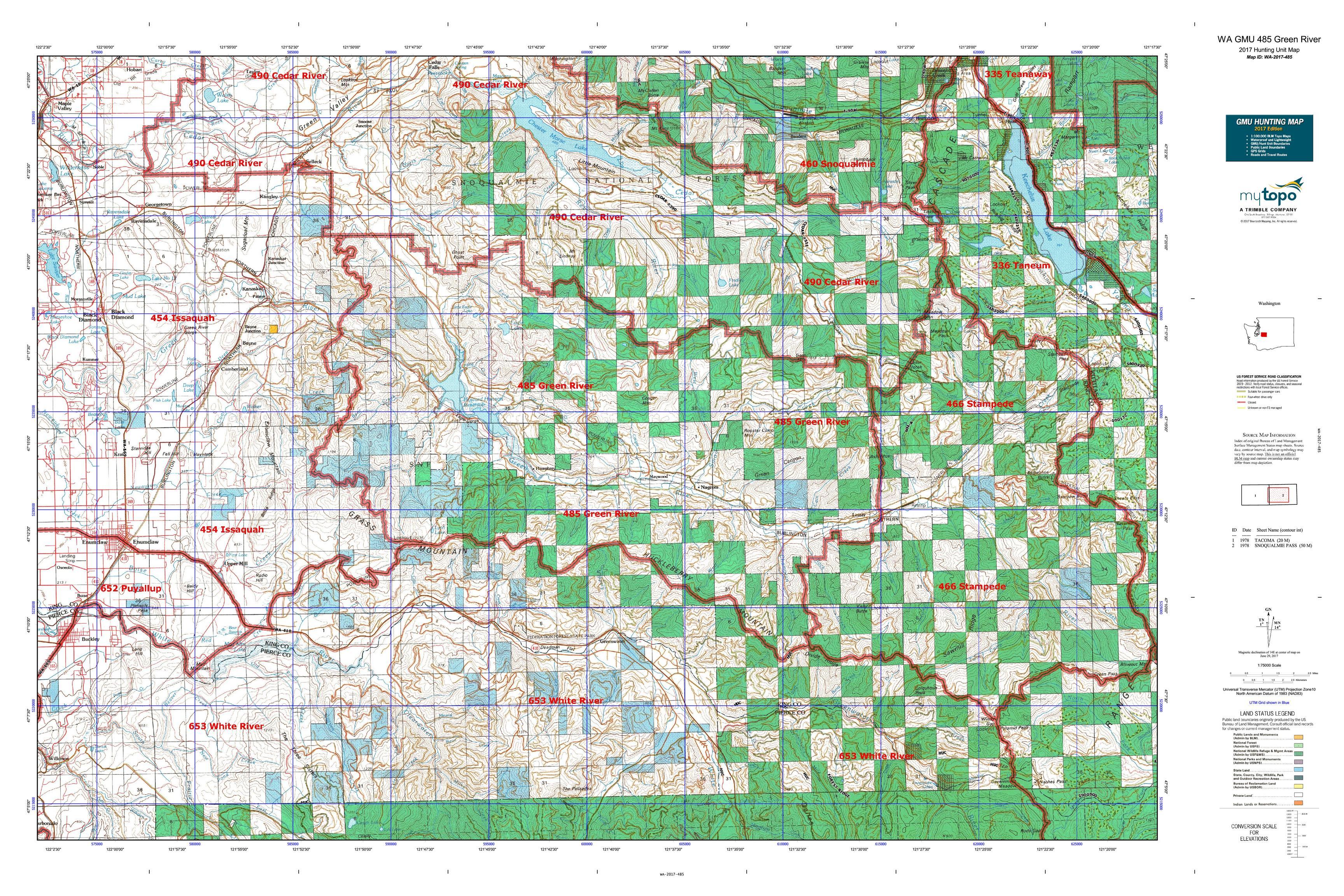 WA GMU 485 Green River Map  MyTopo